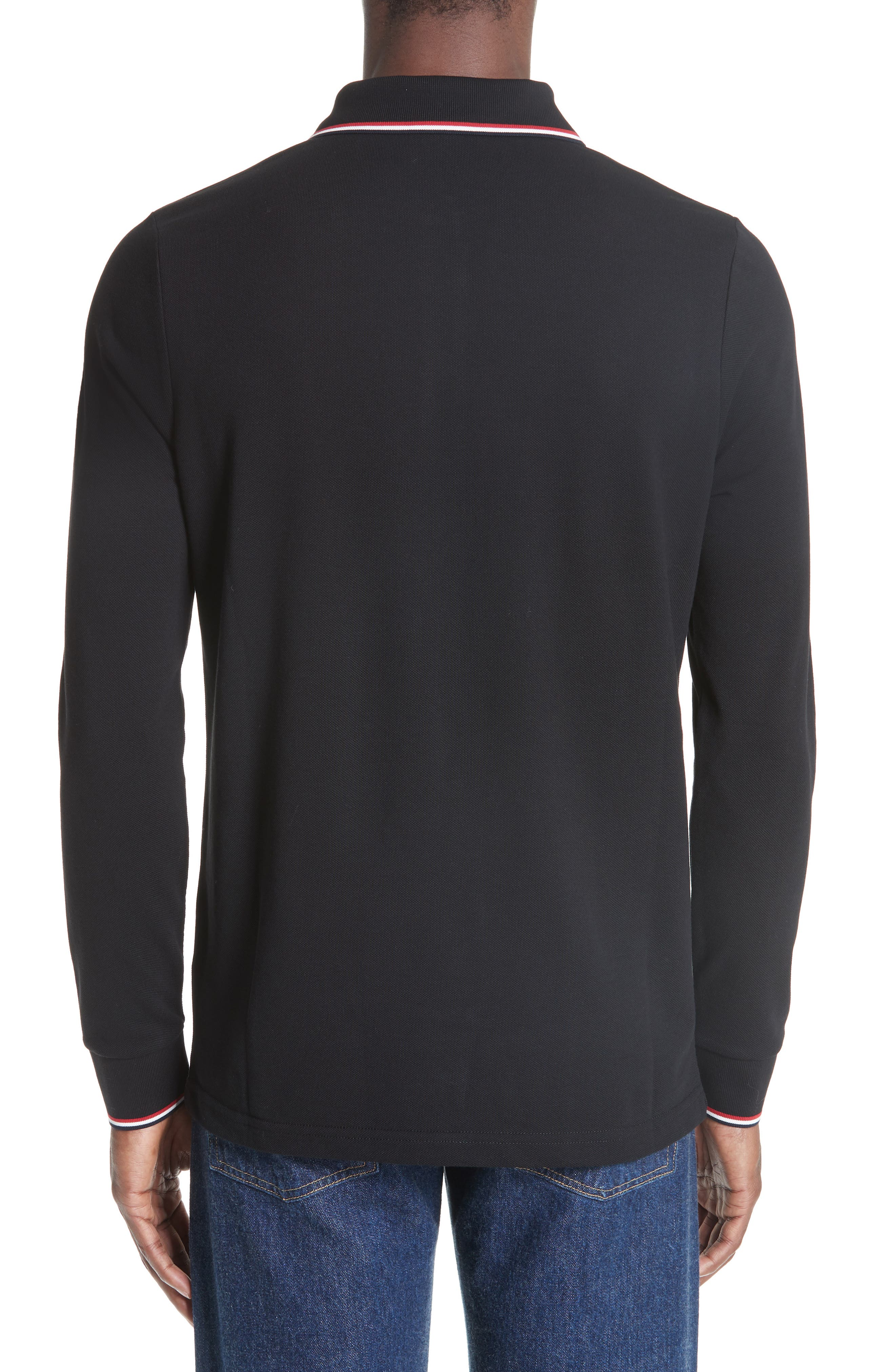 MONCLER, Maglia Long Sleeve Piqué Polo, Alternate thumbnail 2, color, BLACK