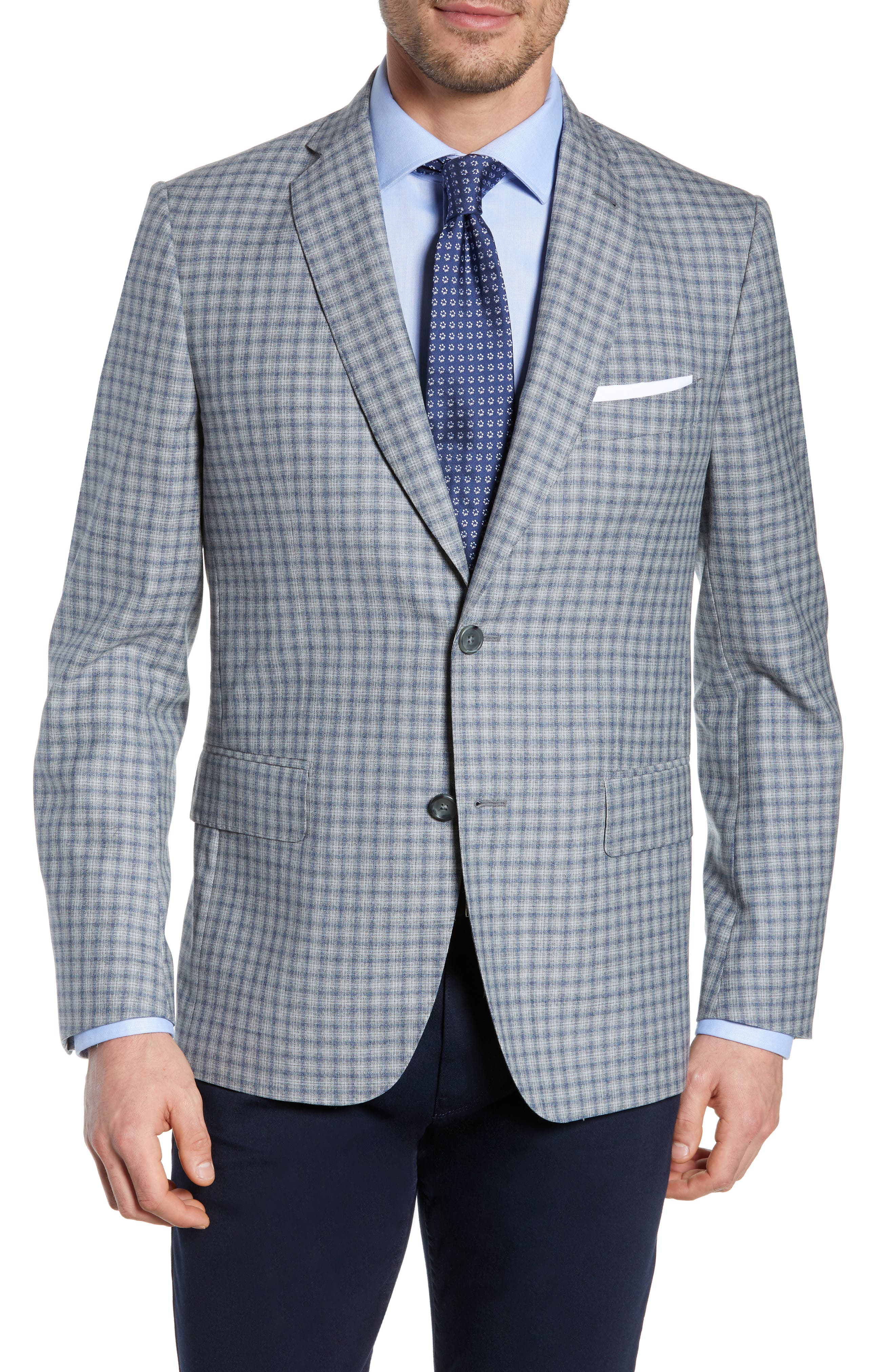 JOHN W. NORDSTROM<SUP>®</SUP> Traditional Fit Plaid Wool Sport Coat, Main, color, GREY FILIGREE BLUE CHECK