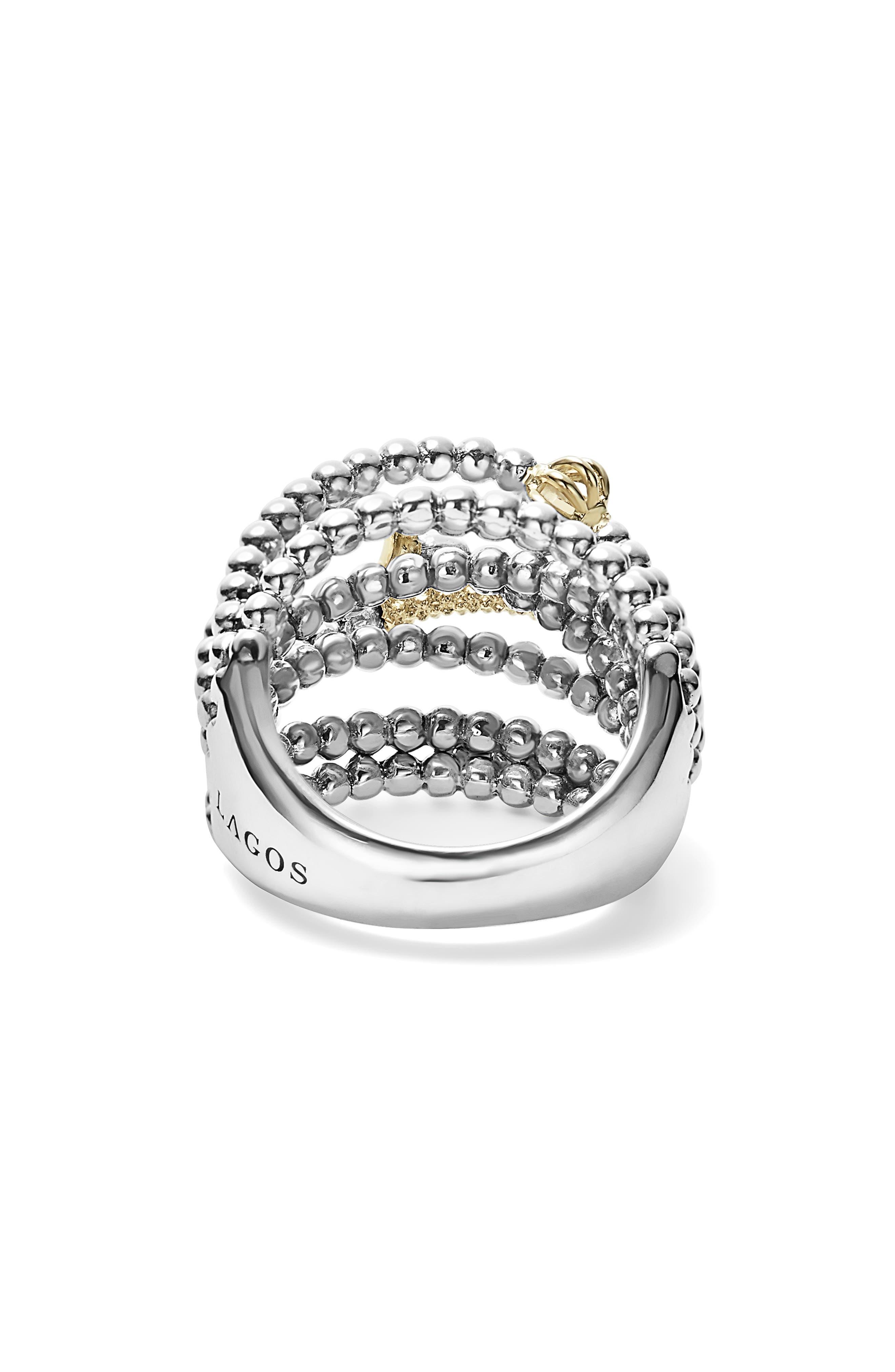 LAGOS, 'Caviar Icon' Multi-Row Dome Ring, Alternate thumbnail 4, color, SILVER/ GOLD