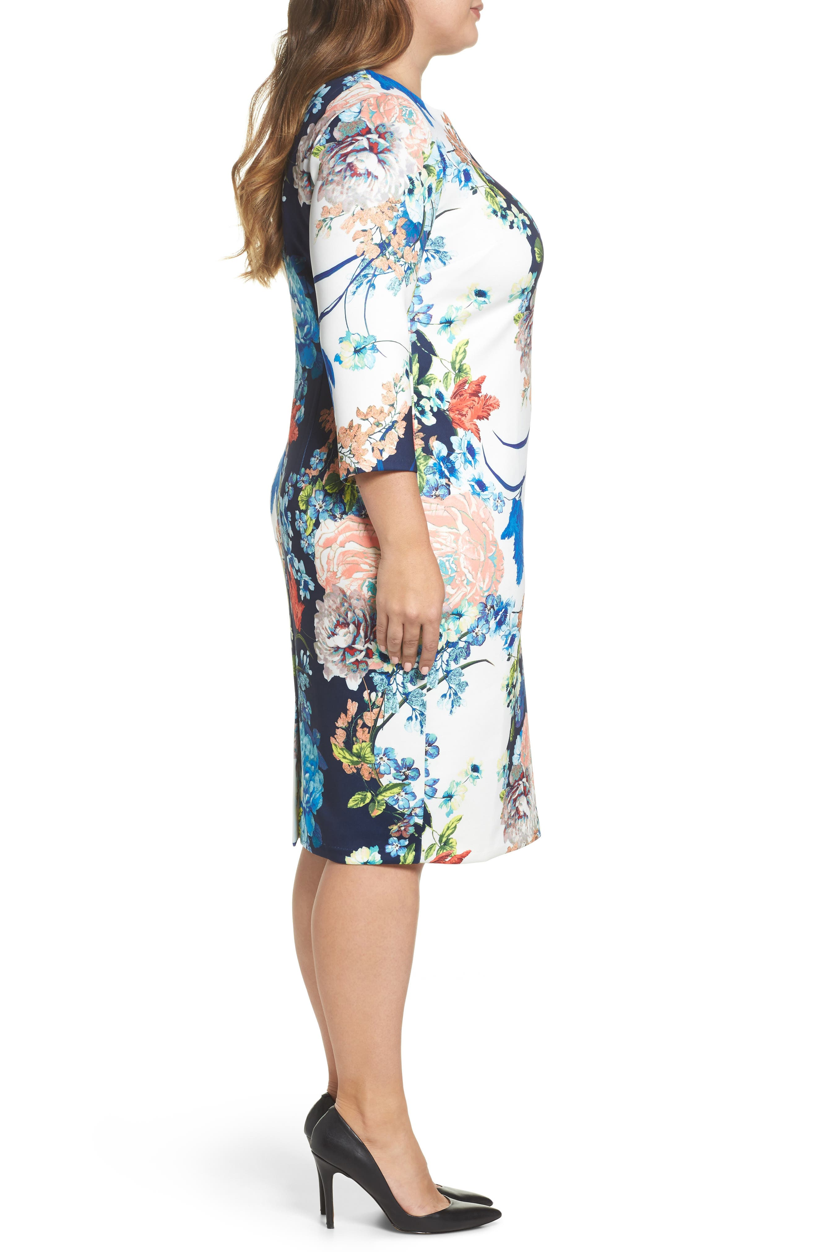ECI, Floral Jersey Sheath Dress, Alternate thumbnail 3, color, 436