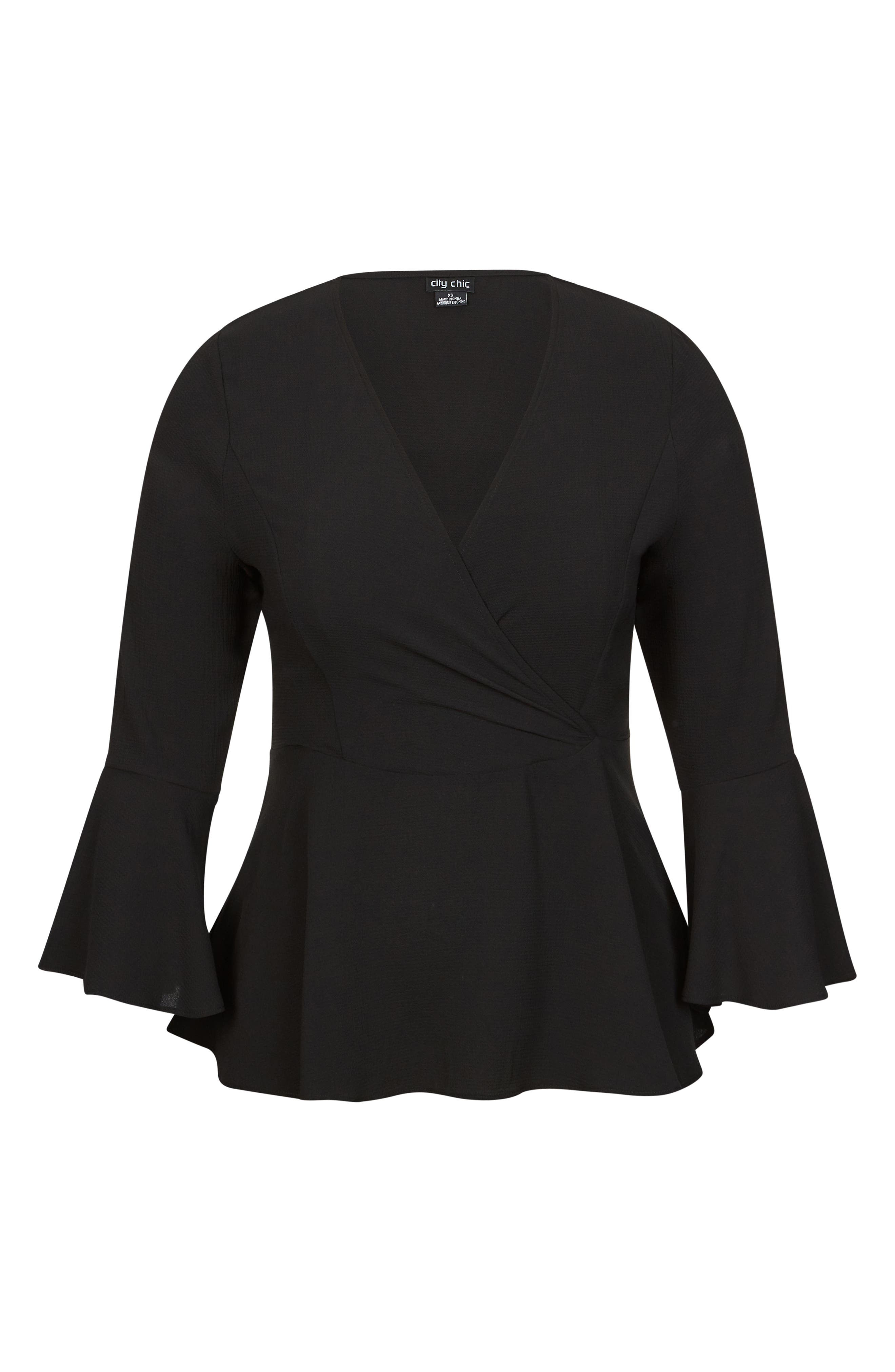 CITY CHIC, Sweetly Tied Top, Alternate thumbnail 3, color, BLACK