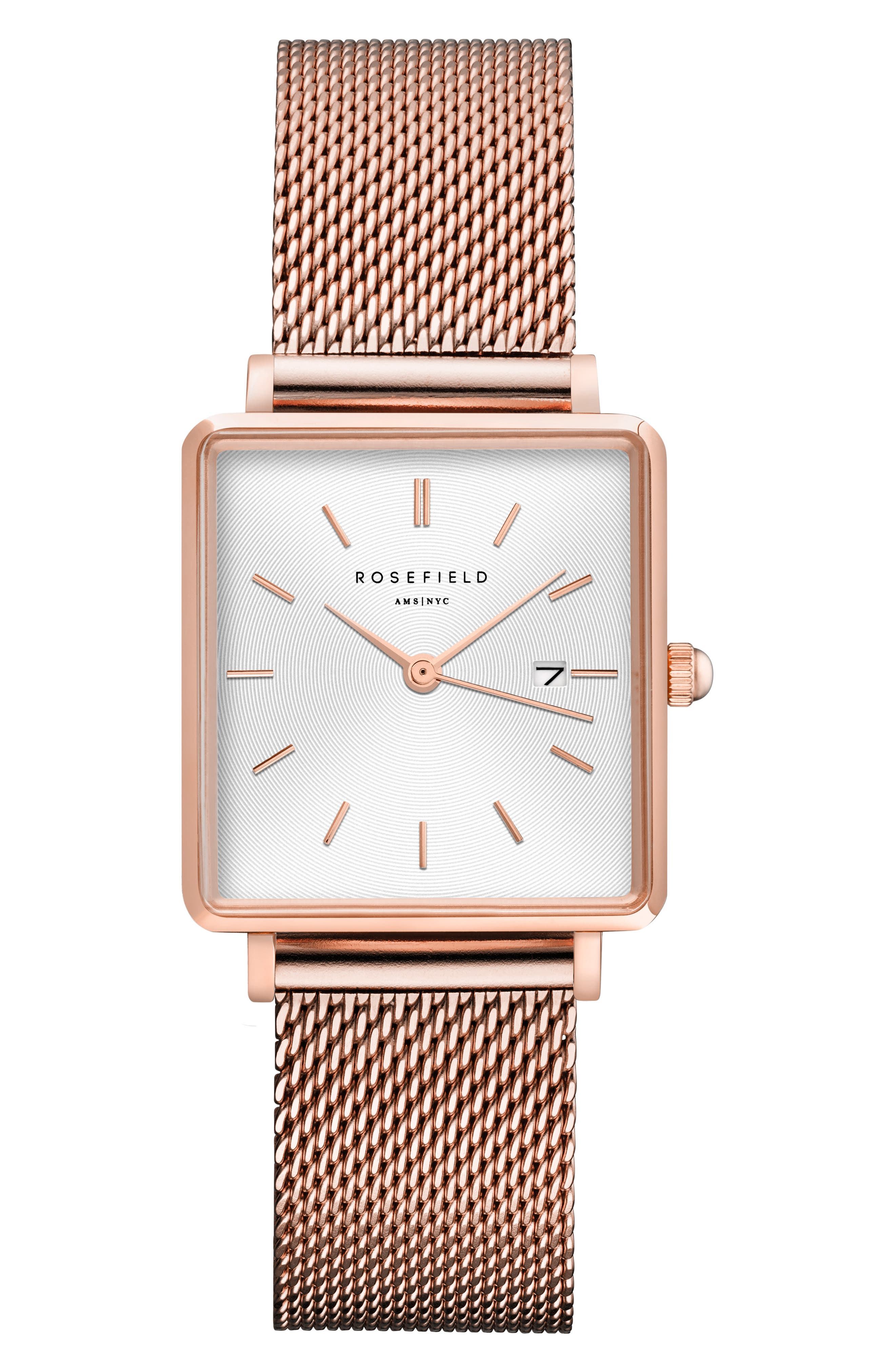 ROSEFIELD The Boxy Mesh Strap Watch, 26mm x 28mm, Main, color, ROSE GOLD/ WHITE/ ROSE GOLD