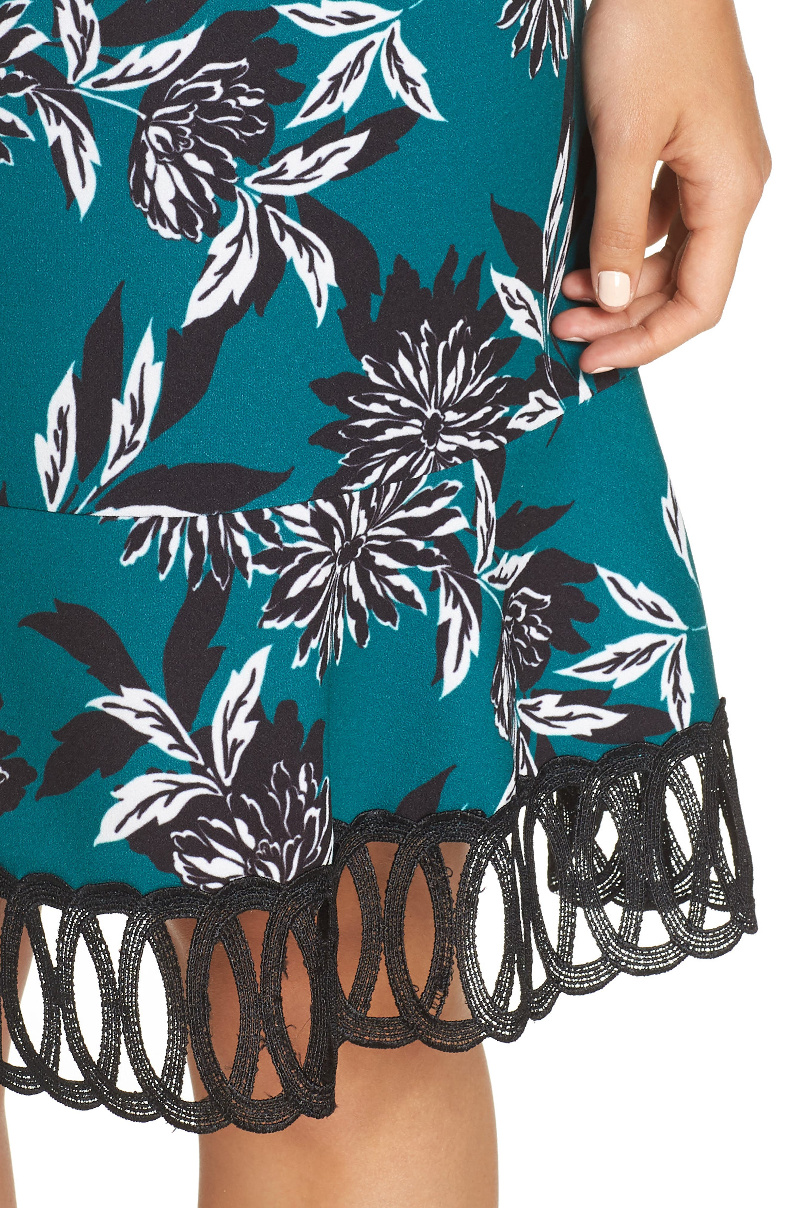 JULIA JORDAN, Crepe Scuba A-Line Dress, Alternate thumbnail 5, color, 300