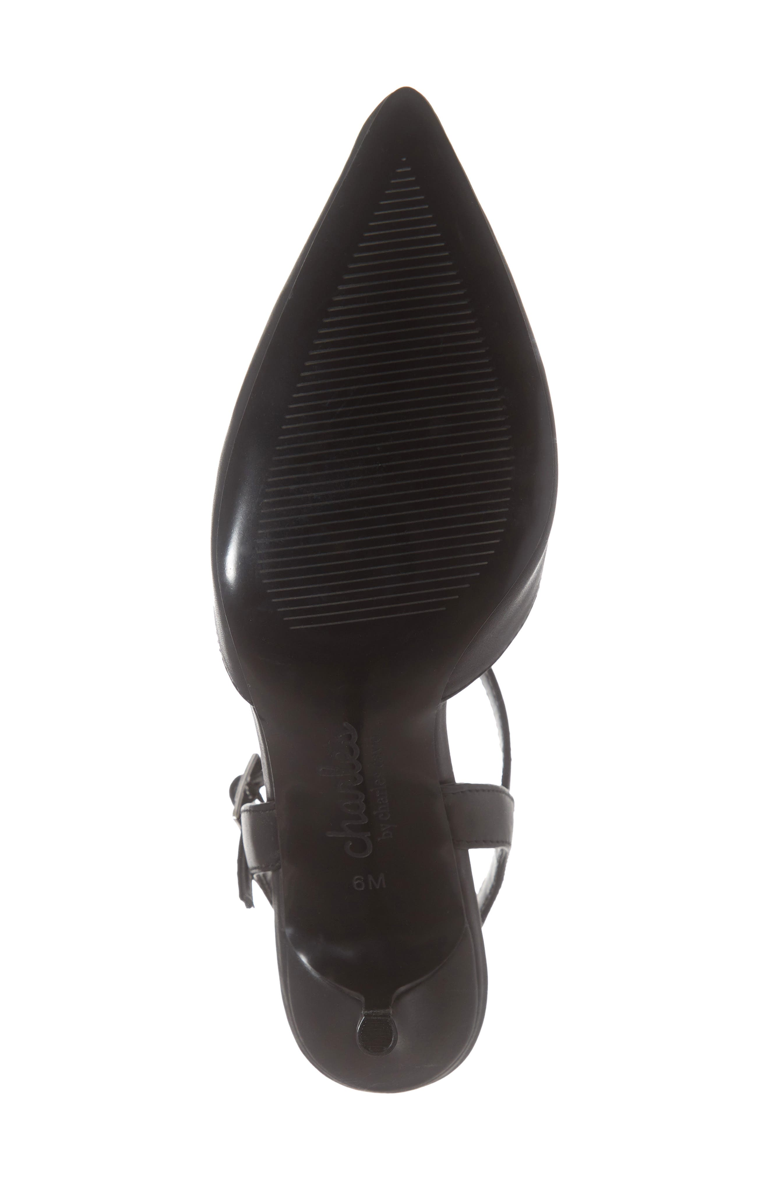 CHARLES BY CHARLES DAVID, Ankle Strap Pump, Alternate thumbnail 6, color, BLACK FAUX LEATHER