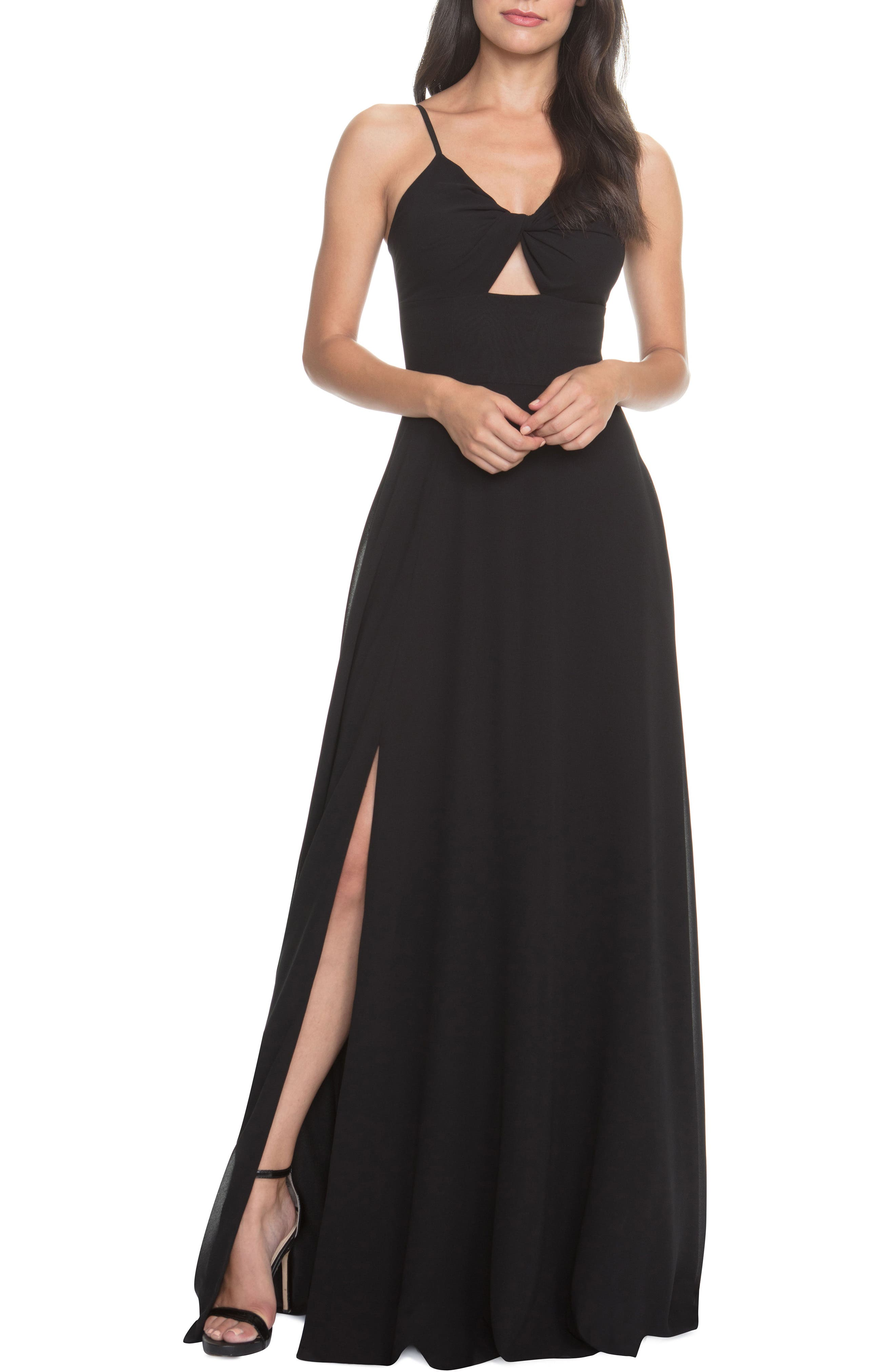 Dress The Population Cambria Tie Bodice Evening Dress, Black