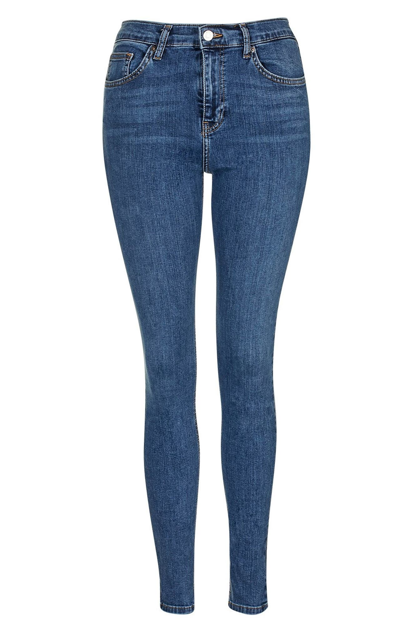 TOPSHOP, Jamie High Waist Skinny Jeans, Alternate thumbnail 4, color, MID BLUE