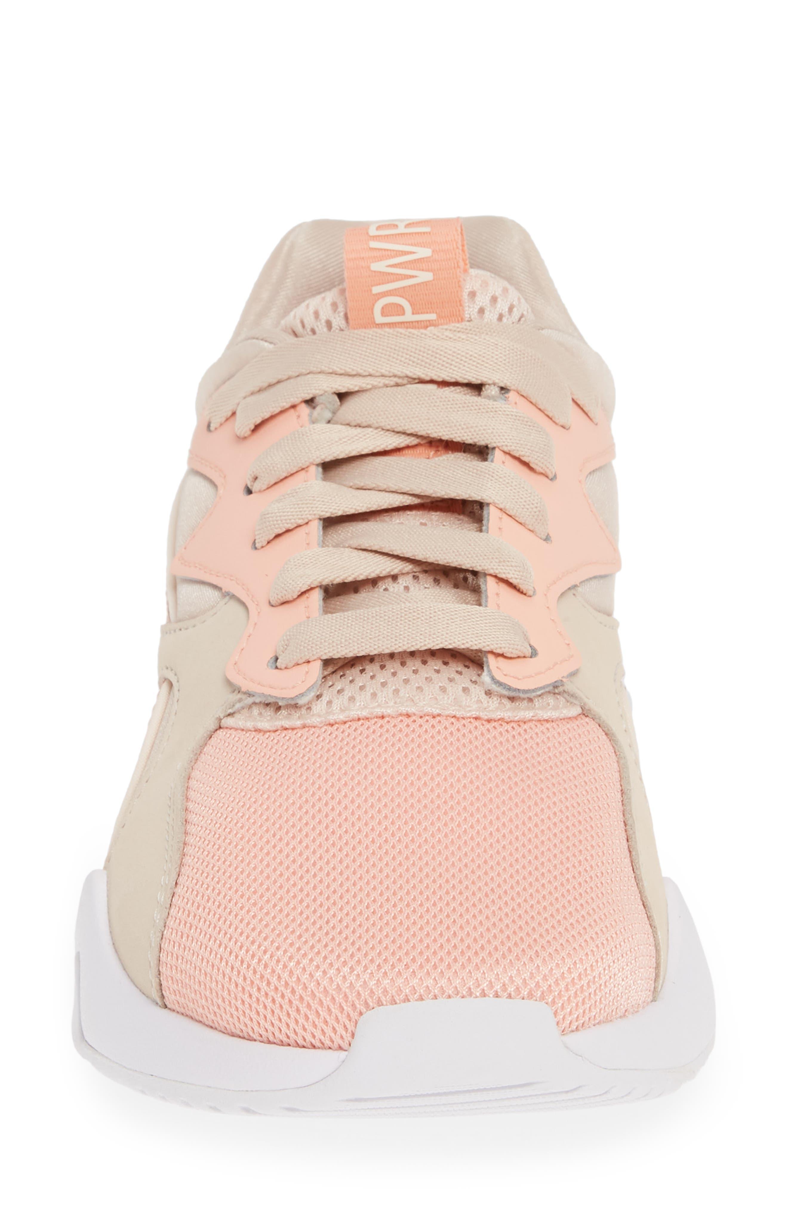 PUMA, Nova GRL PWR Sneaker, Alternate thumbnail 4, color, PEACH BUD/ PEARL BLUSH
