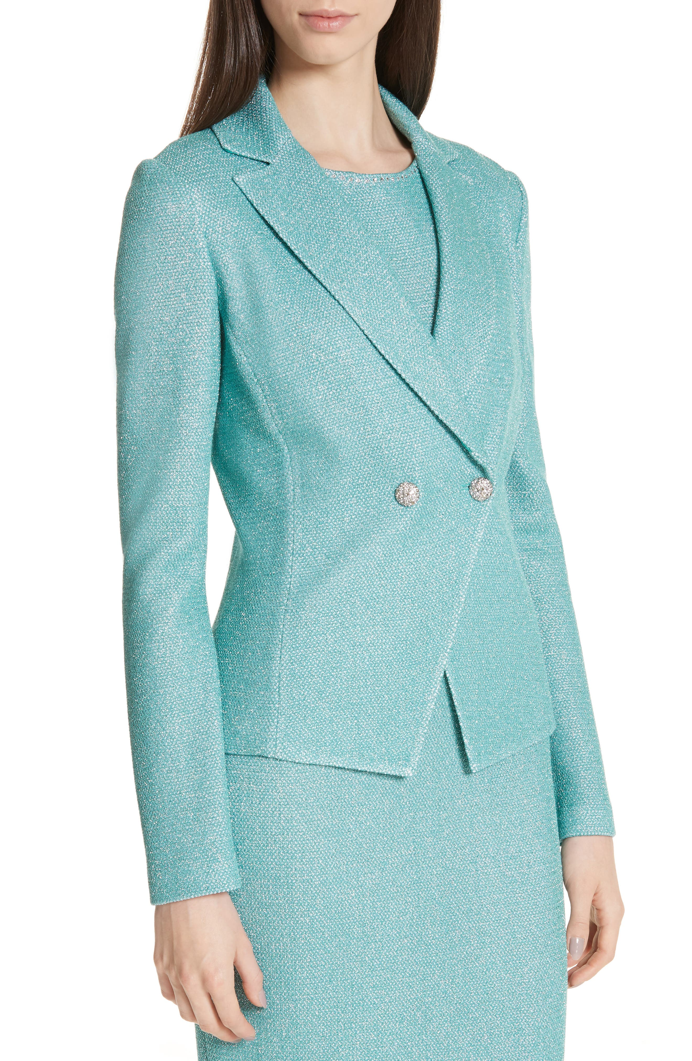 ST. JOHN COLLECTION, Bailey Knit Double Breasted Blazer, Alternate thumbnail 5, color, LAGOON