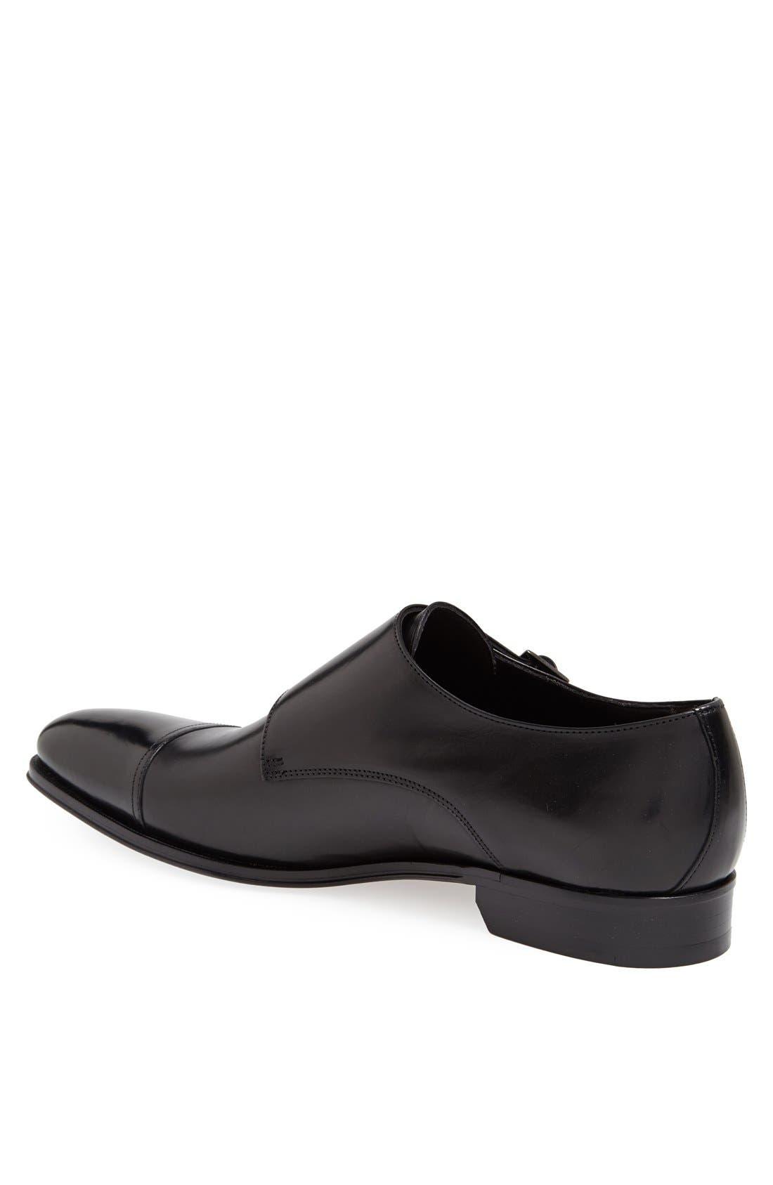 TO BOOT NEW YORK, 'Grant' Double Monk Shoe, Alternate thumbnail 2, color, BLACK CALFSKIN