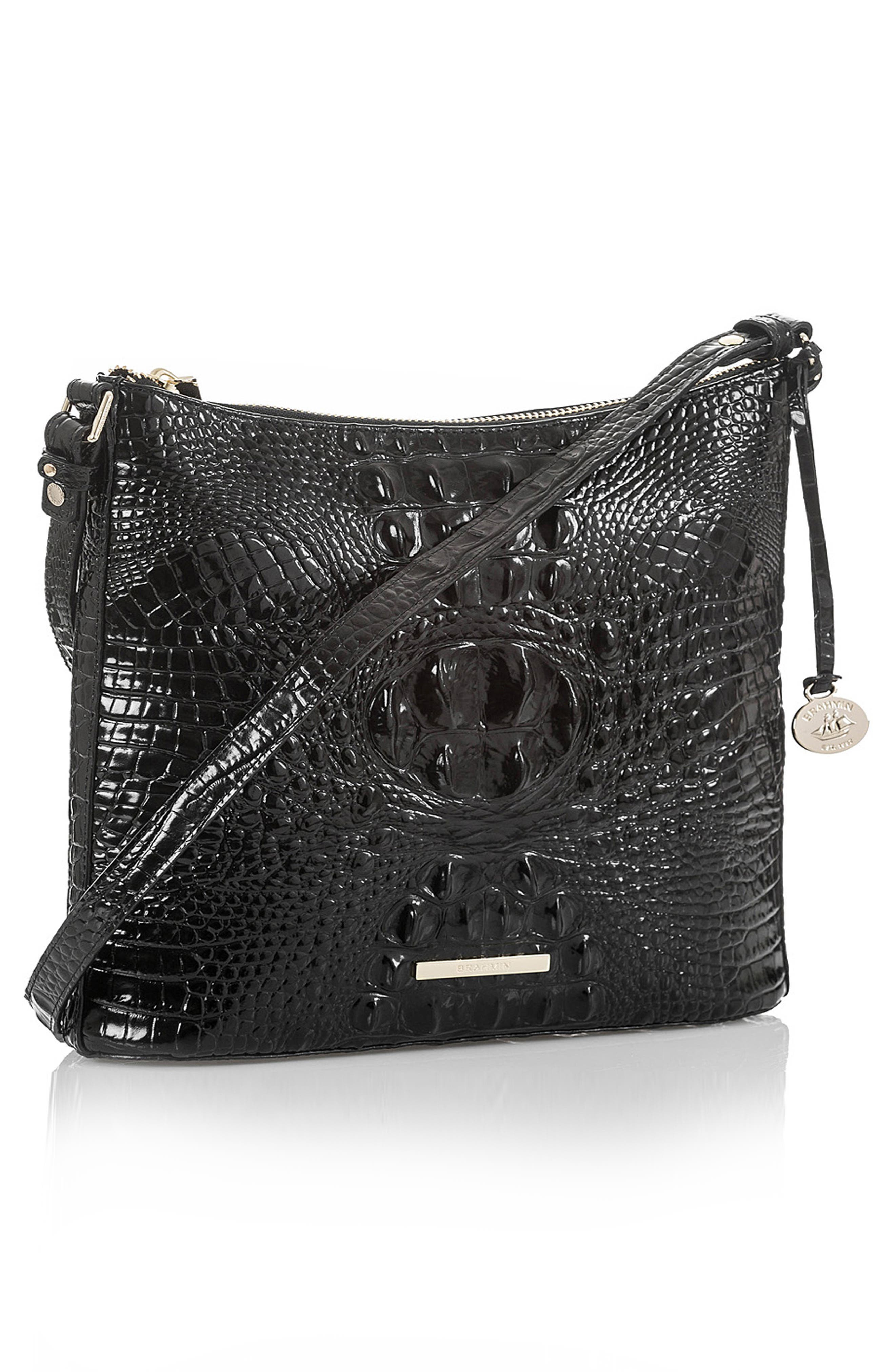 BRAHMIN, Katie Croc Embossed Leather Crossbody Bag, Alternate thumbnail 5, color, BLACK MEMBOURNE