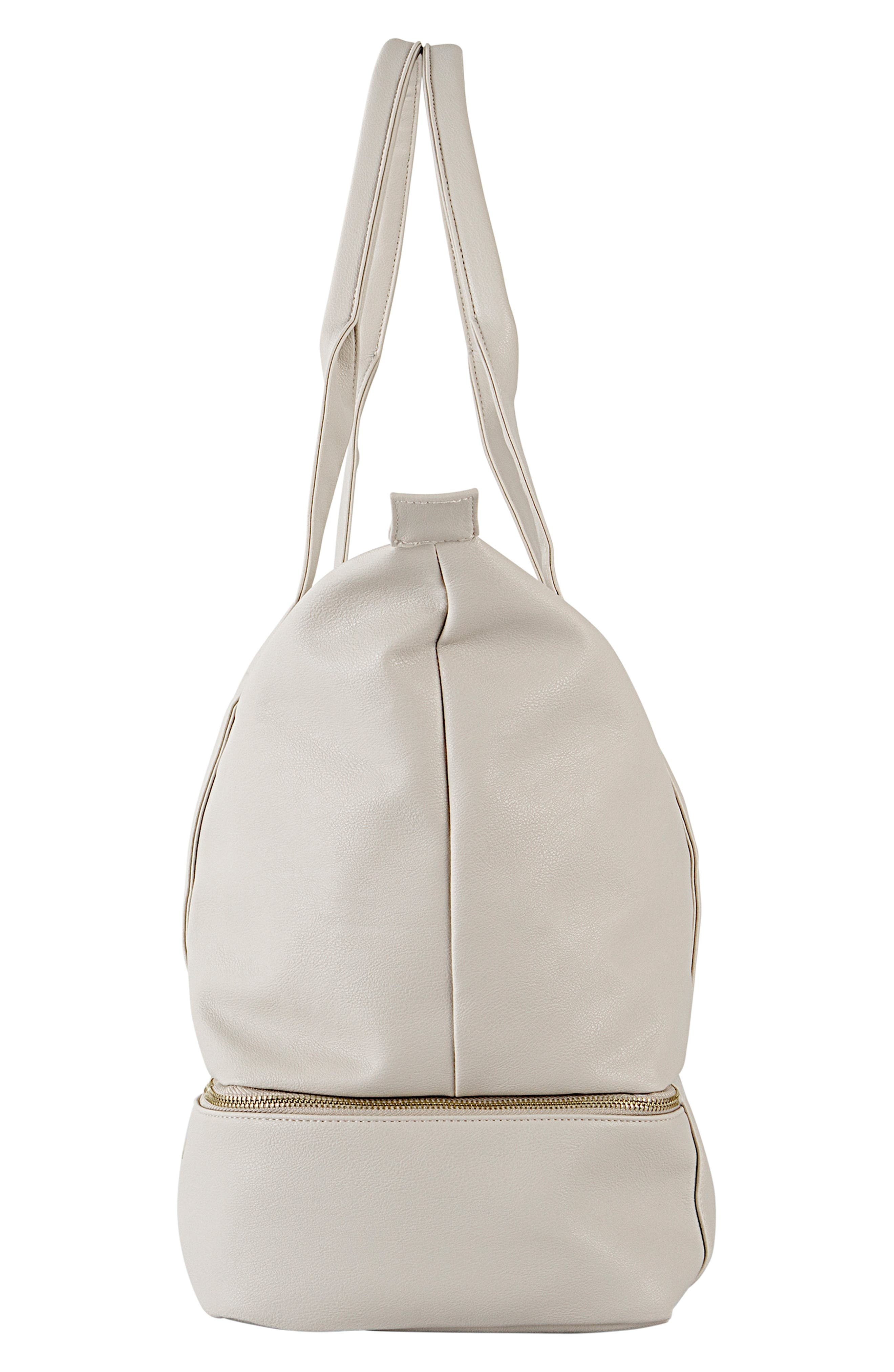 CATHY'S CONCEPTS, Monogram Faux Leather Tote with Shoe Base, Alternate thumbnail 4, color, GRAY