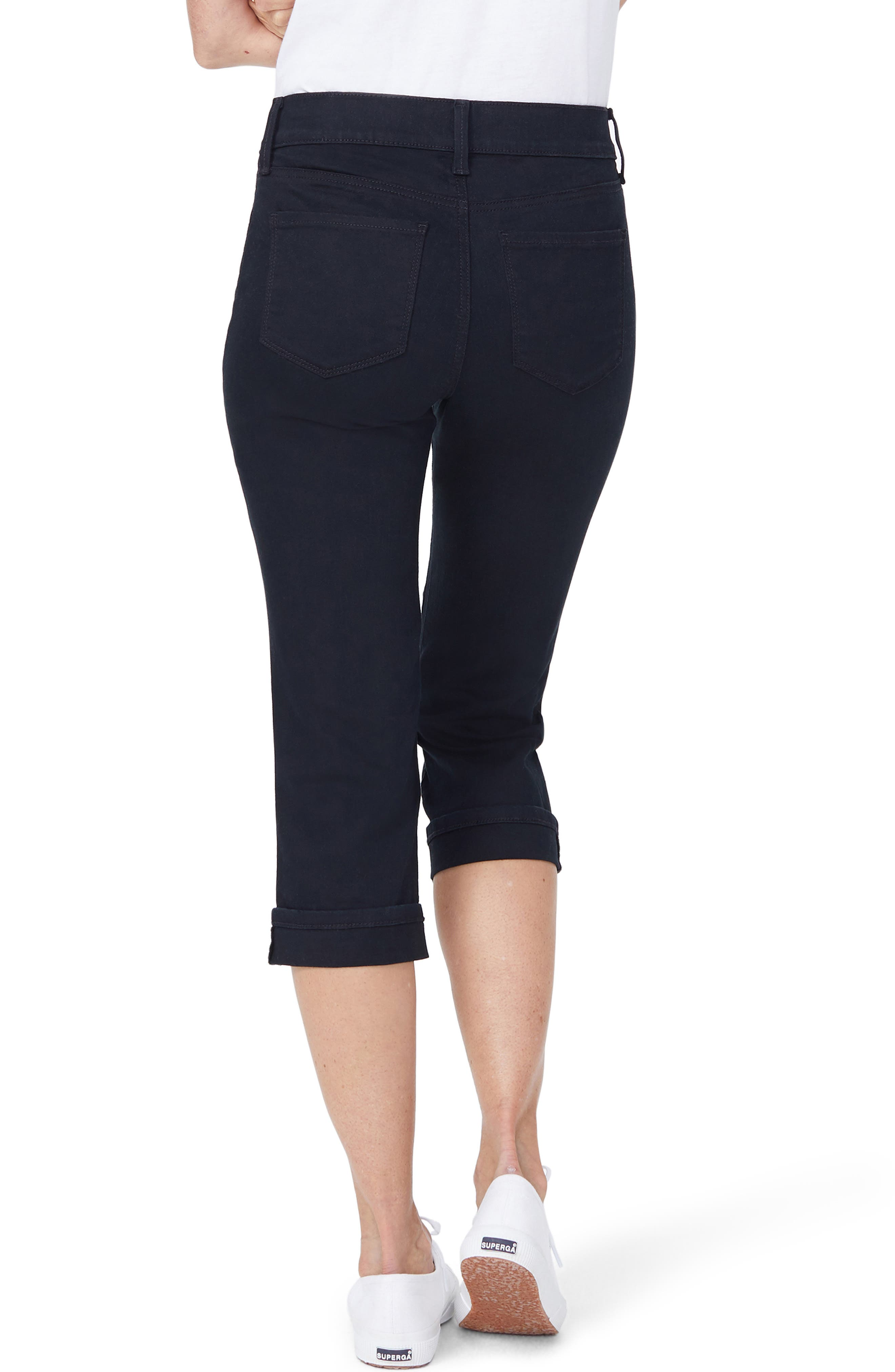 NYDJ, Marilyn Crop Jeans, Alternate thumbnail 2, color, BLACK