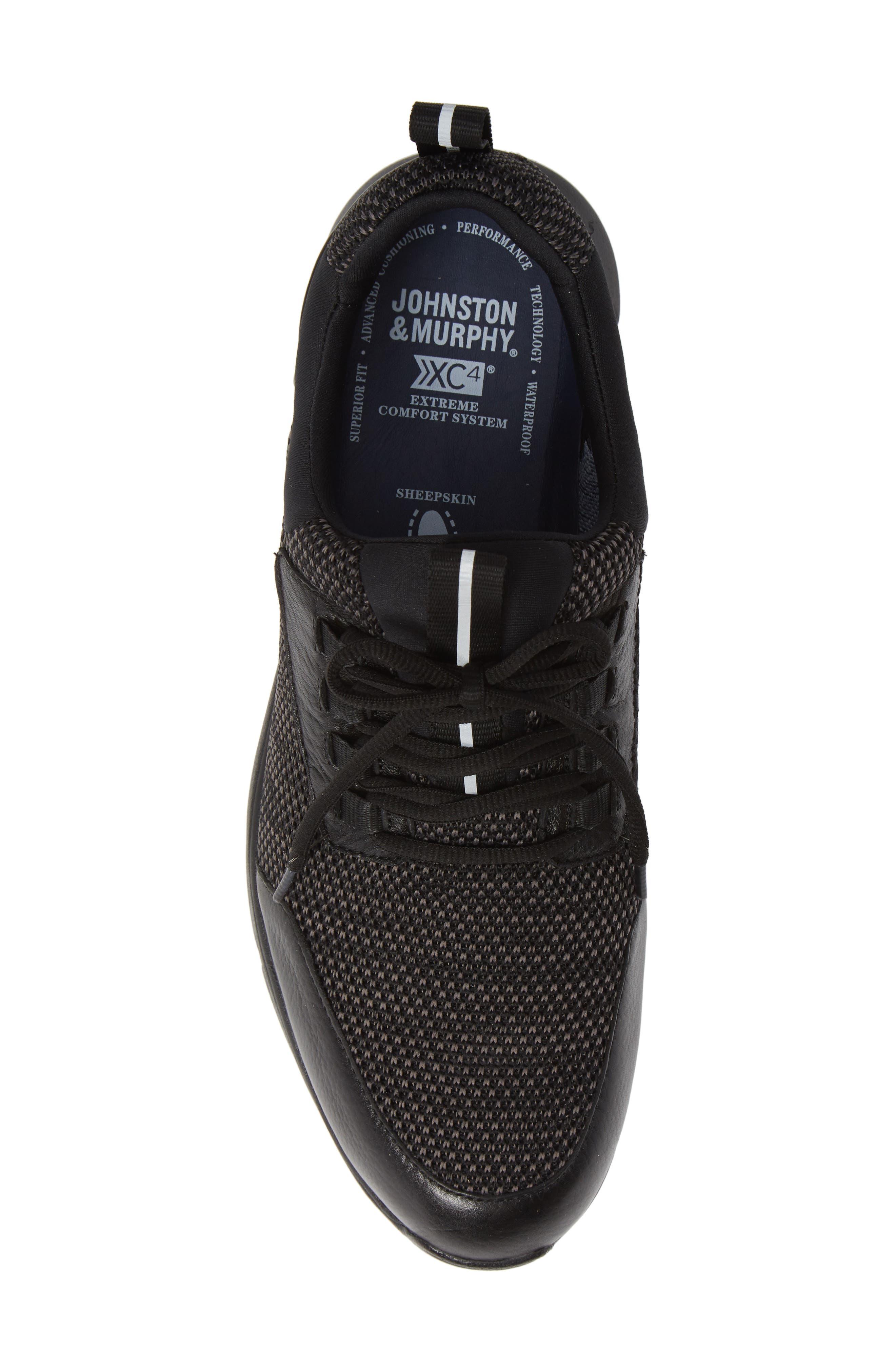 JOHNSTON & MURPHY, Prentiss XC4<sup>®</sup> Waterproof Sneaker, Alternate thumbnail 5, color, BLACK LEATHER