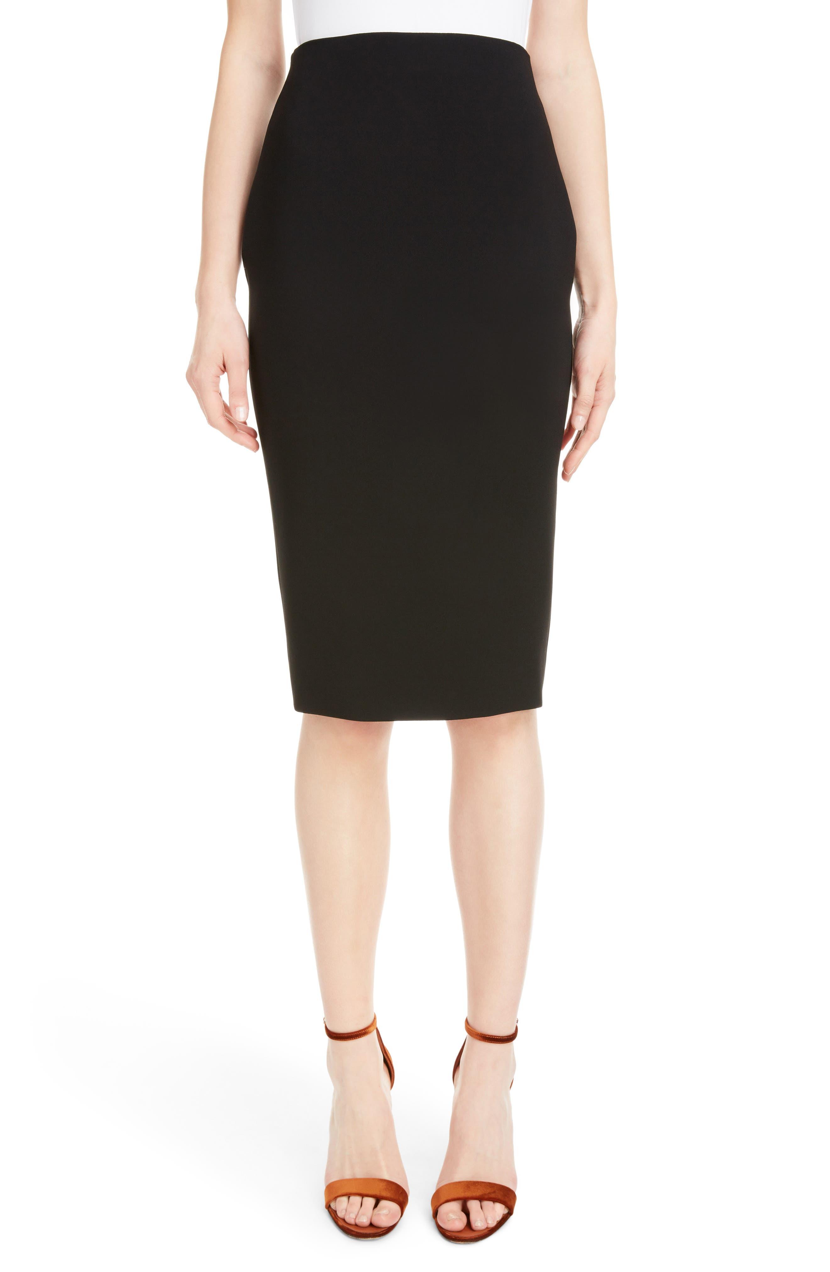 VICTORIA BECKHAM, Back Zip Pencil Skirt, Main thumbnail 1, color, BLACK