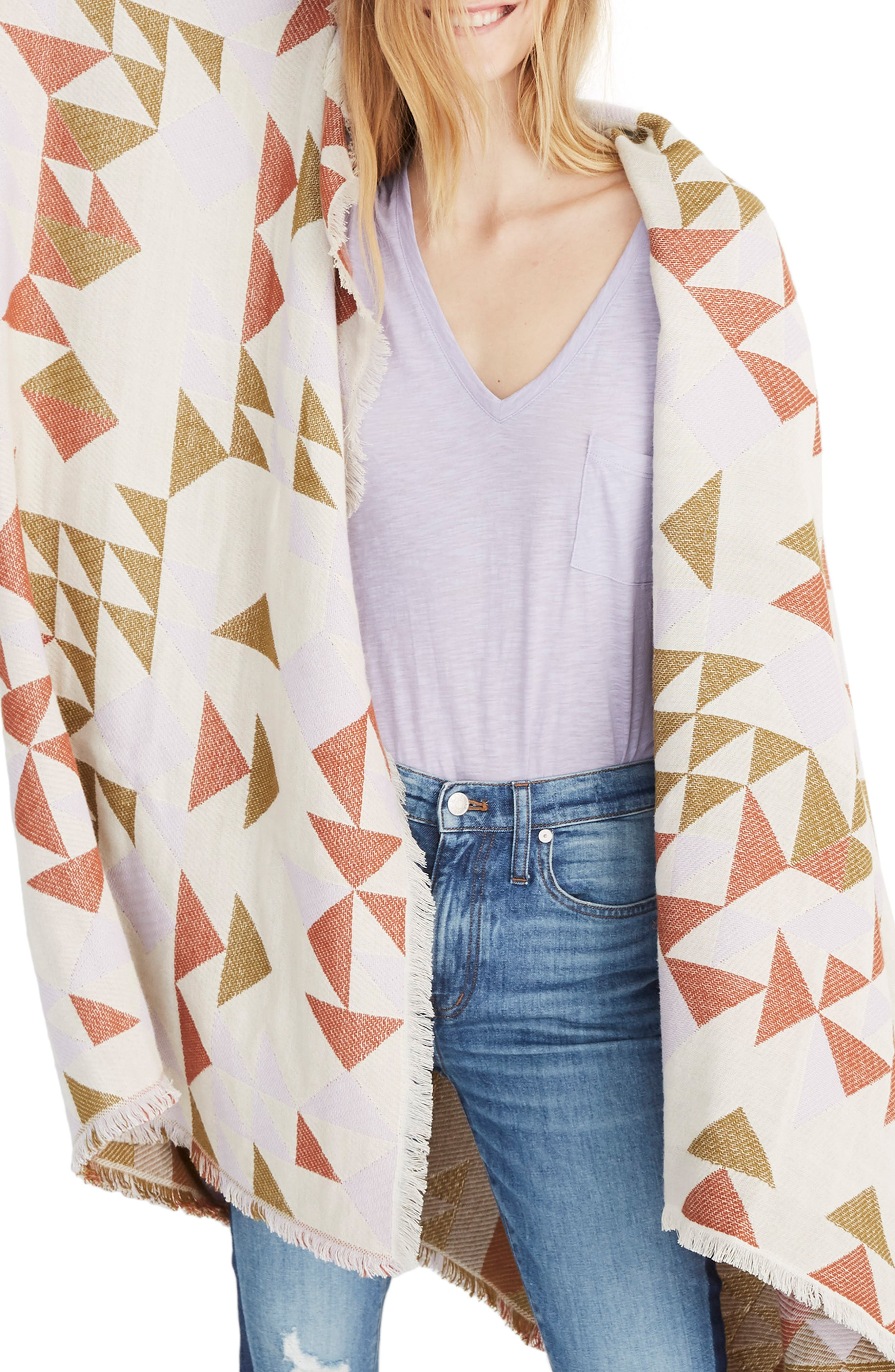 MADEWELL Colorblock Quilt Jacquard Scarf, Main, color, SUNDRIED LILAC MULTI