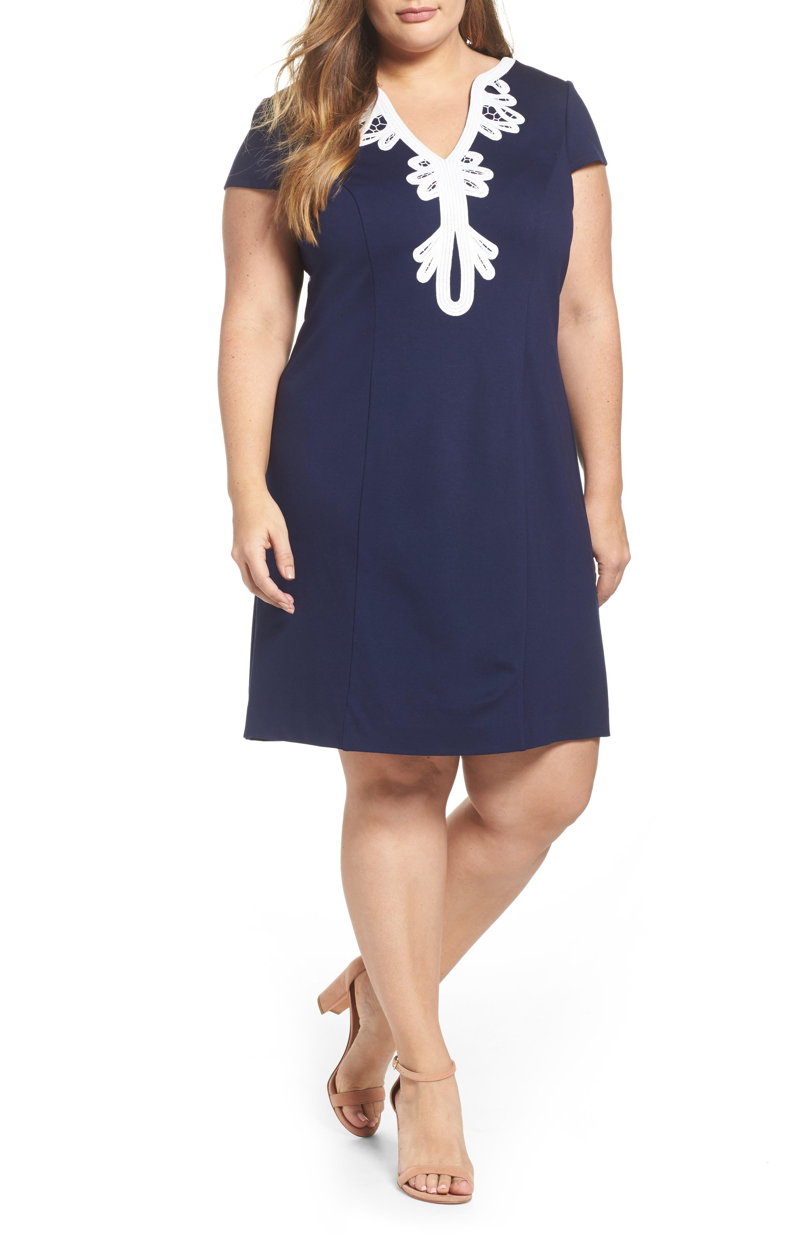 ELIZA J Embroidered Ponte Sheath Dress, Main, color, 410