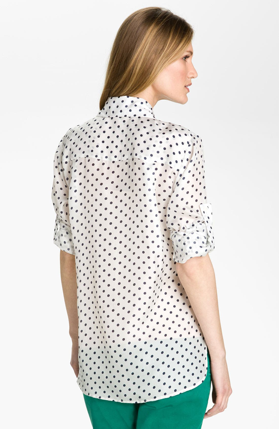BELLEFLEUR, Polka Dot Voile Shirt, Alternate thumbnail 2, color, 119