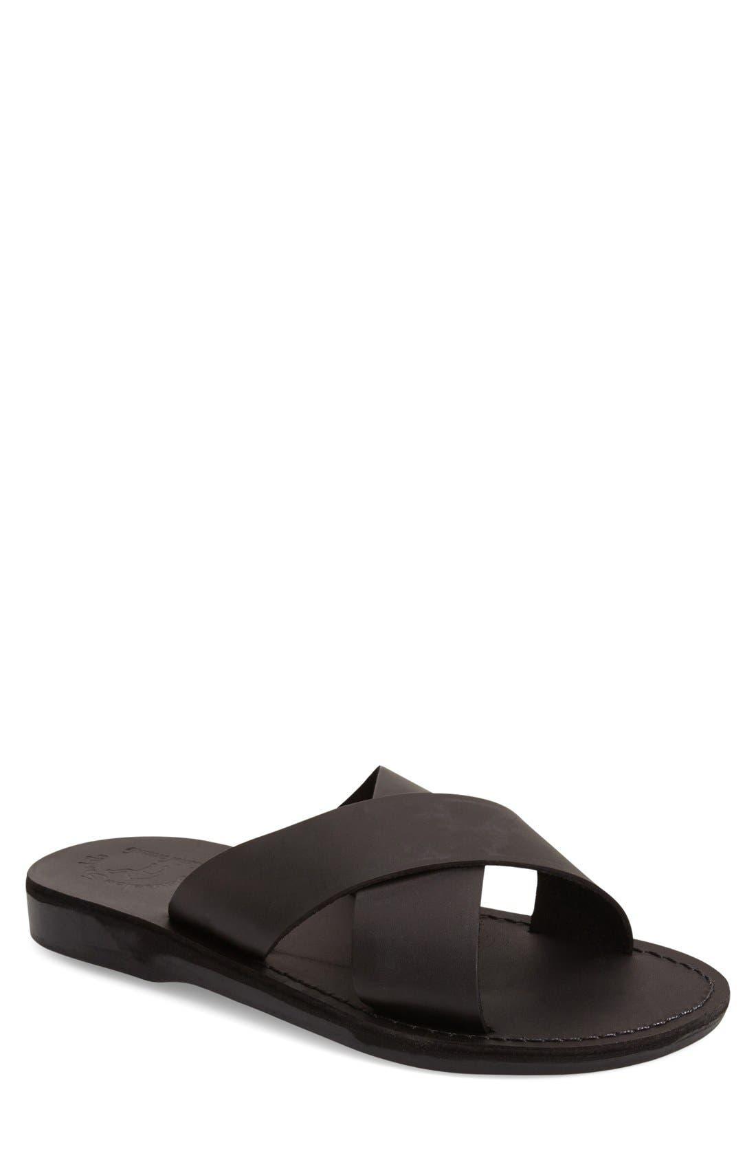 JERUSALEM SANDALS 'Elan' Slide Sandal, Main, color, BLACK LEATHER