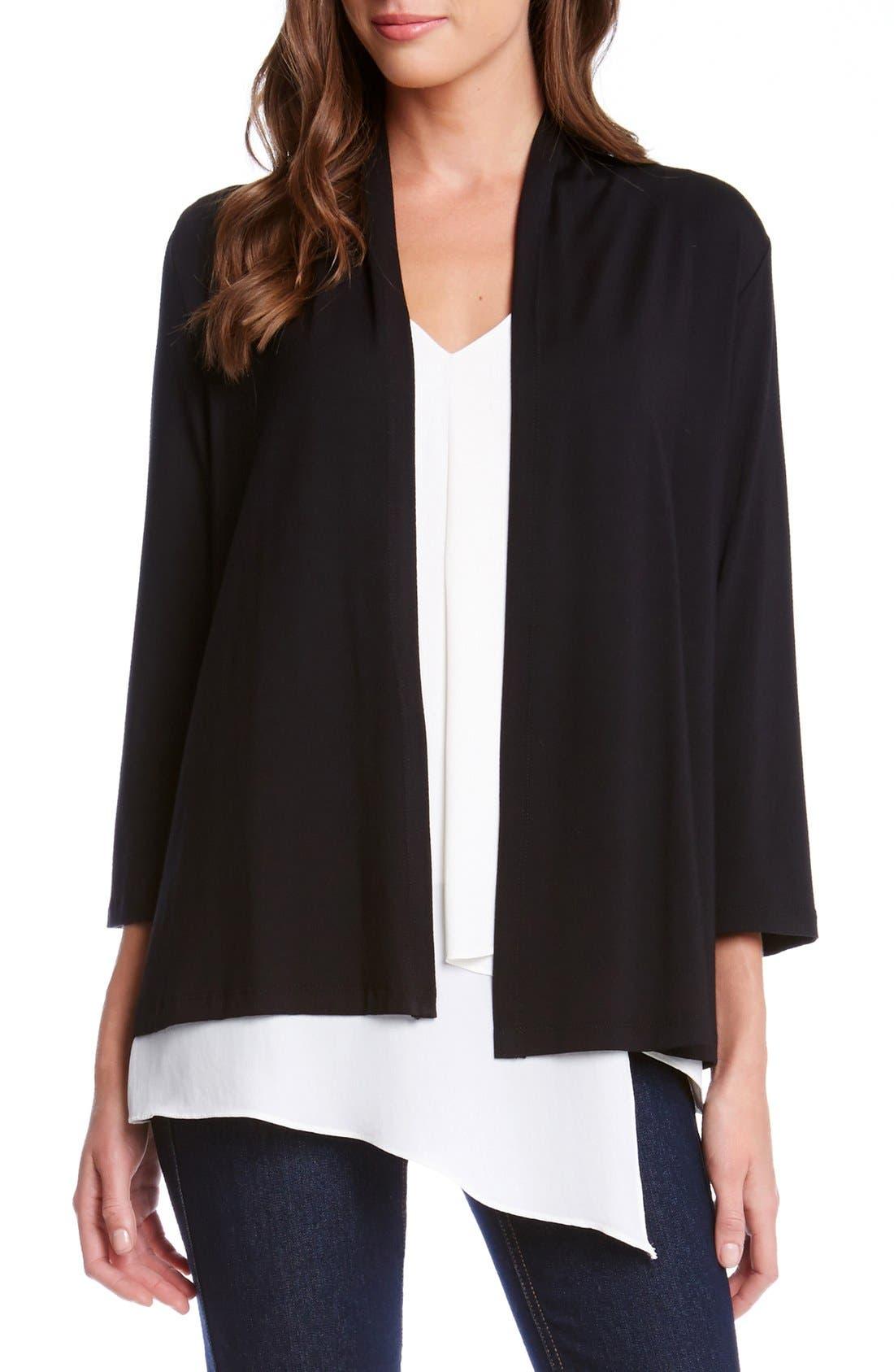 KAREN KANE 'Molly' Open Jersey Cardigan, Main, color, BLACK