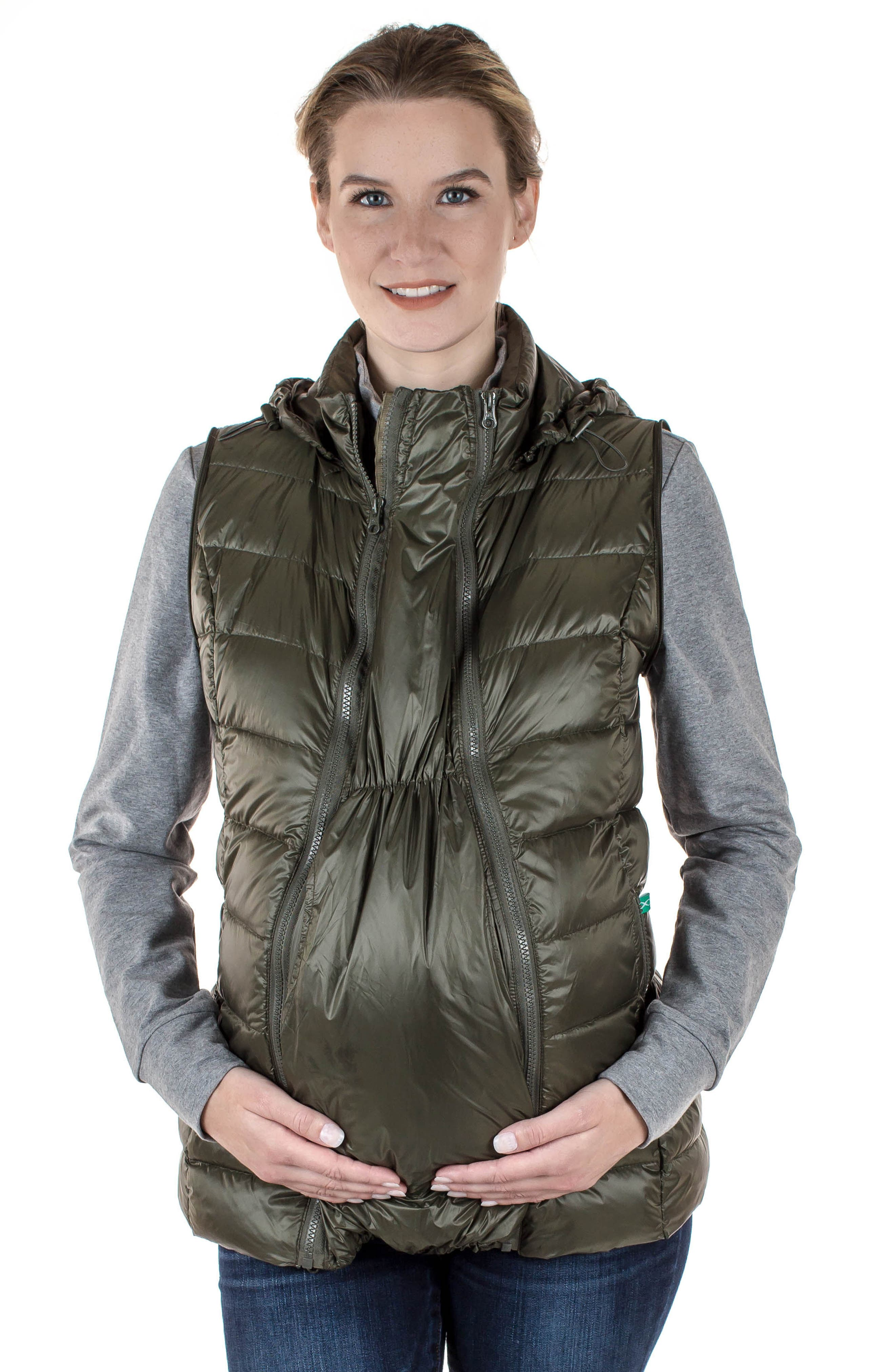 MODERN ETERNITY, Lightweight Puffer Convertible 3-in-1 Maternity Jacket, Alternate thumbnail 11, color, KHAKI GREEN