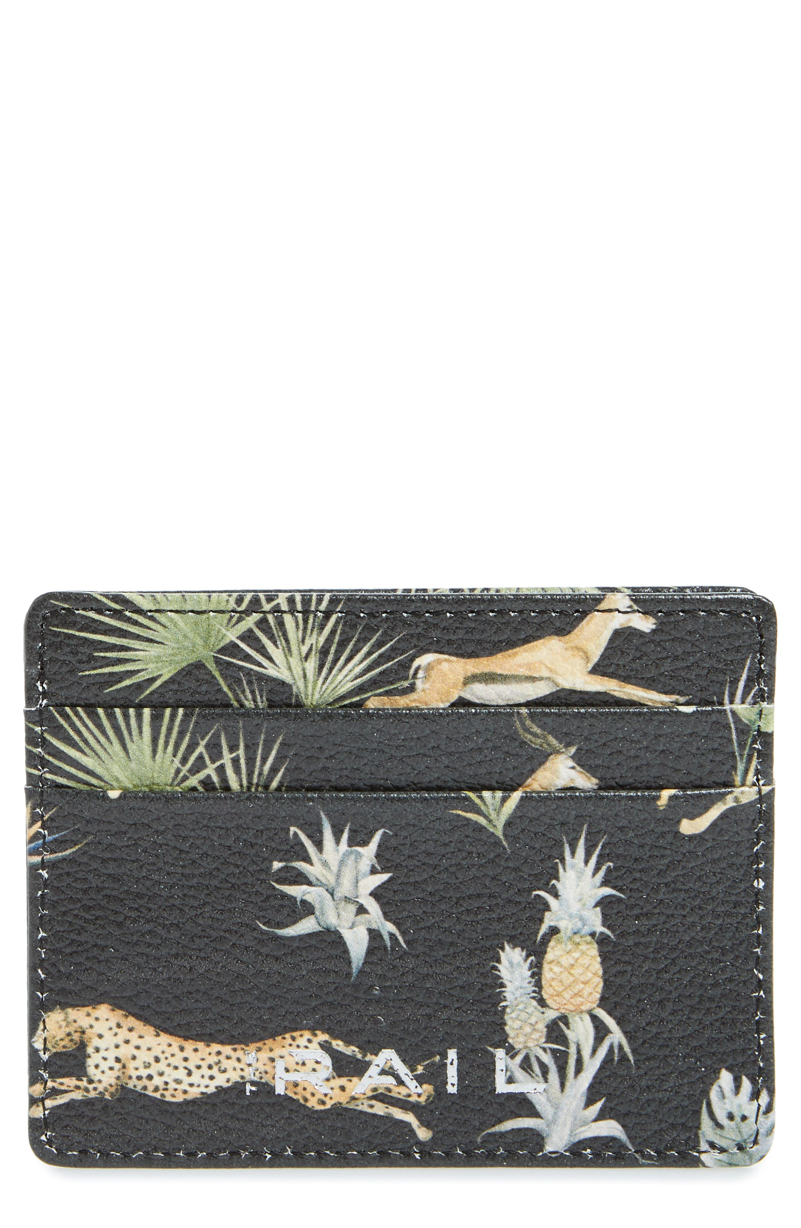 THE RAIL, Jamie Leather Card Case, Main thumbnail 1, color, BLACK CHEETAH FLORAL PRINT