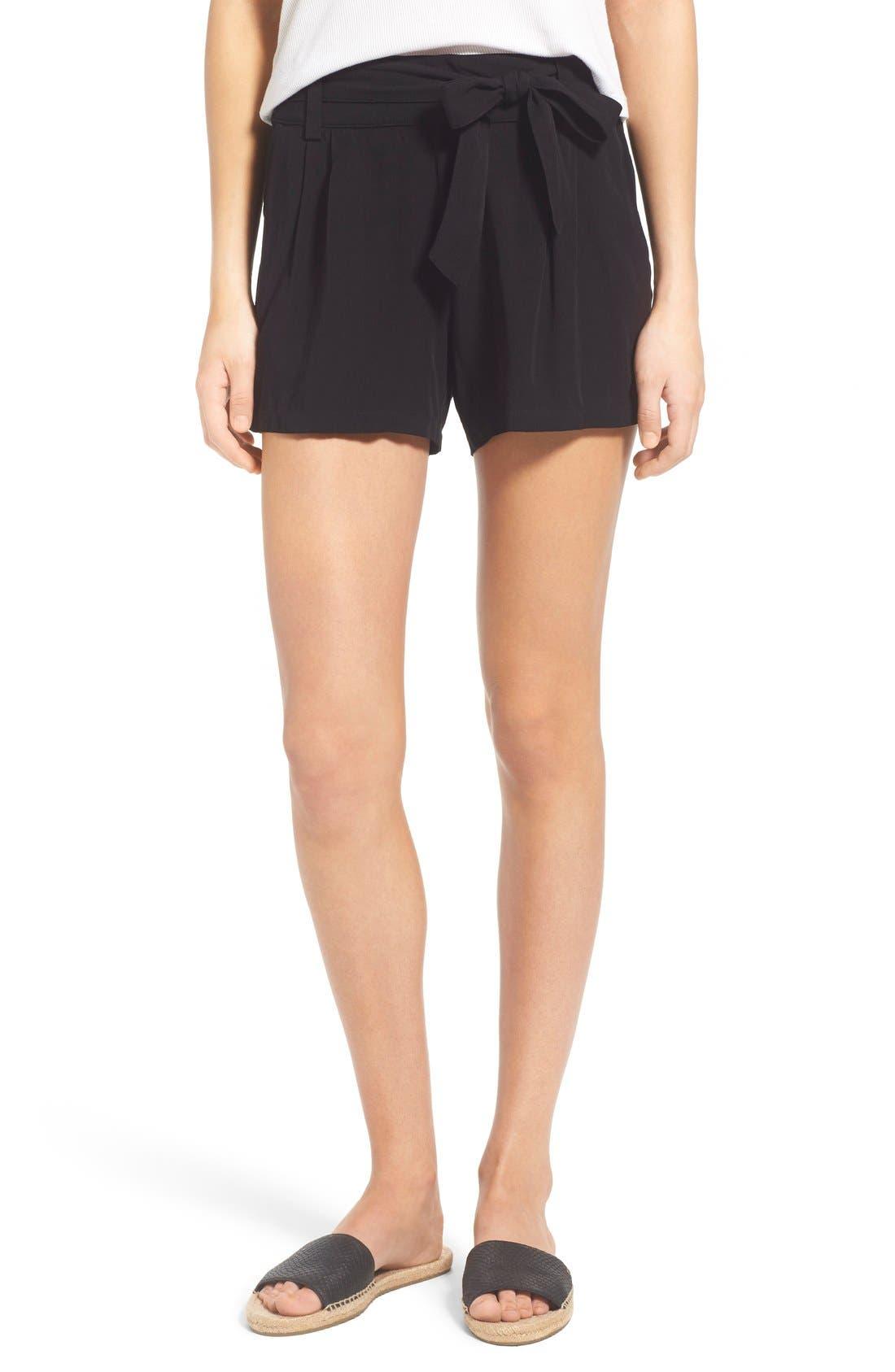 SPLENDID Tie Front Shorts, Main, color, 001
