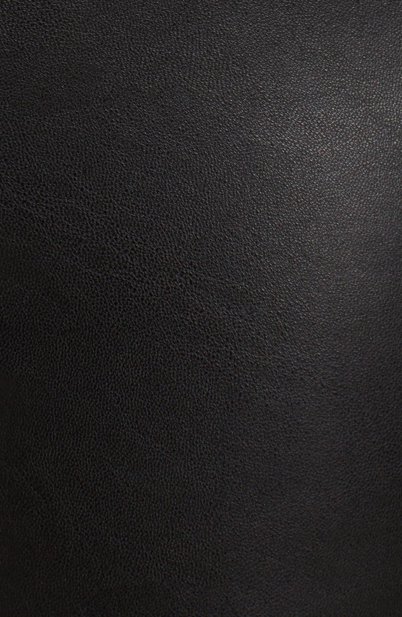 HUE, Leatherette Leggings, Alternate thumbnail 5, color, 001