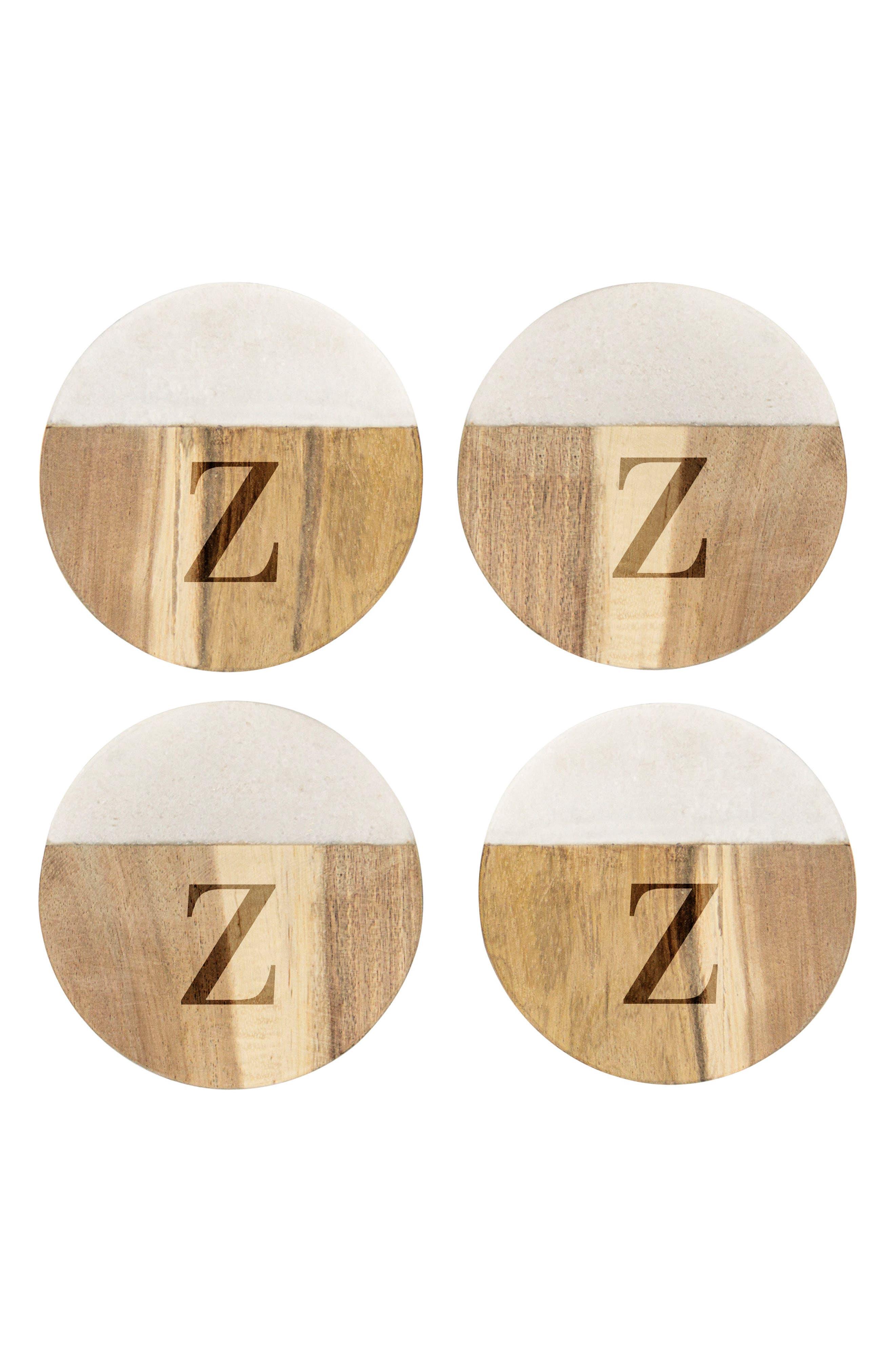 CATHY'S CONCEPTS, Monogram Set of 4 Marble & Acacia Wood Coasters, Main thumbnail 1, color, BROWN - Z