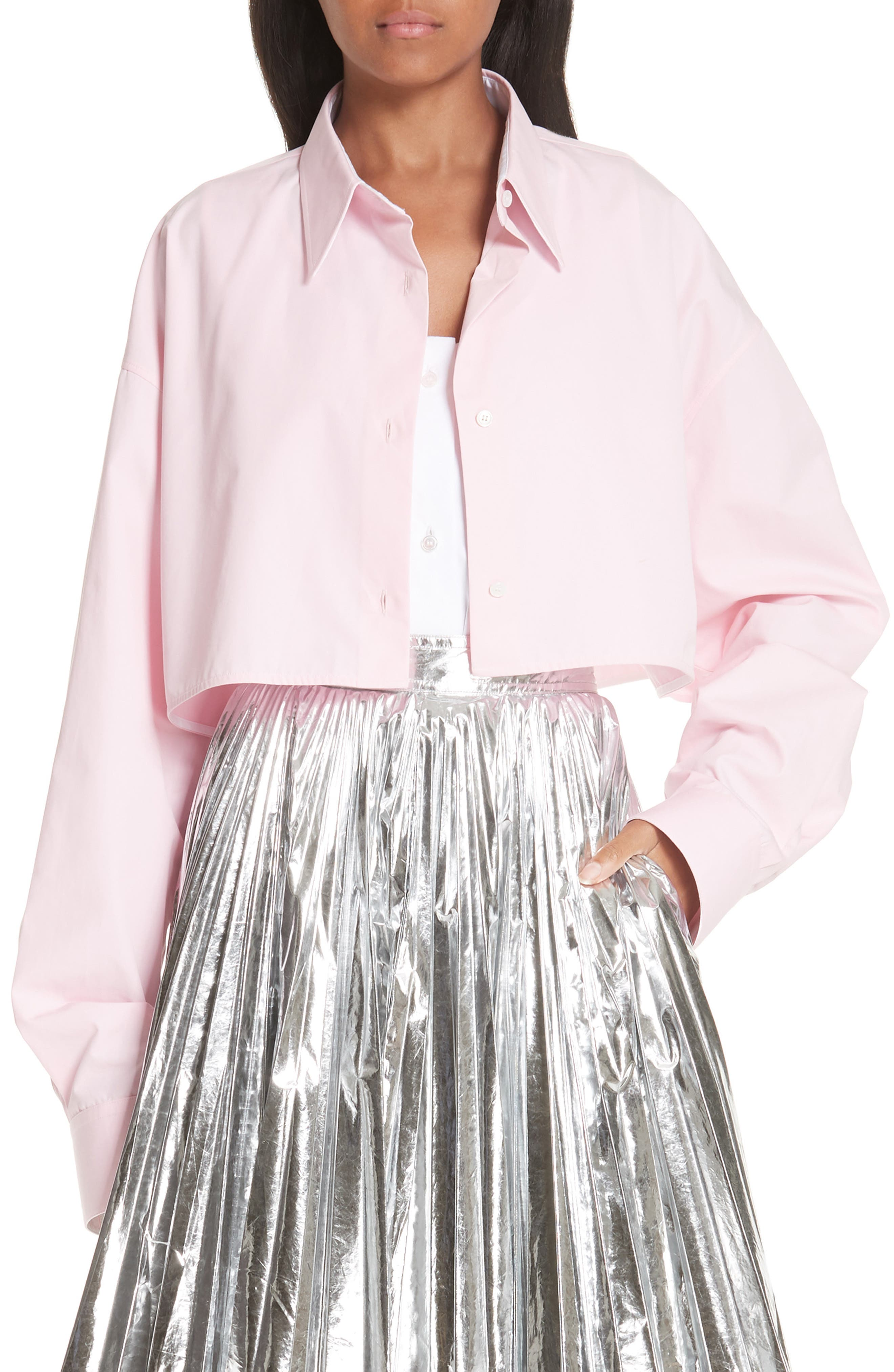 CALVIN KLEIN 205W39NYC, Layered Cotton Poplin Shirt, Main thumbnail 1, color, ROSE OPTIC WHITE