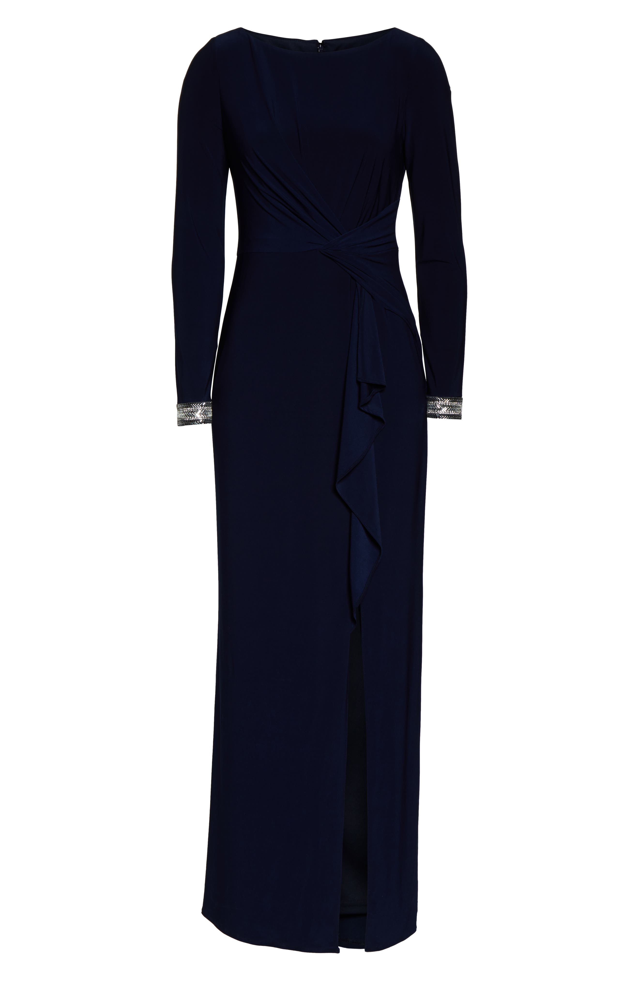 VINCE CAMUTO, Beaded Cuff Ruched Jersey Dress, Alternate thumbnail 7, color, NAVY