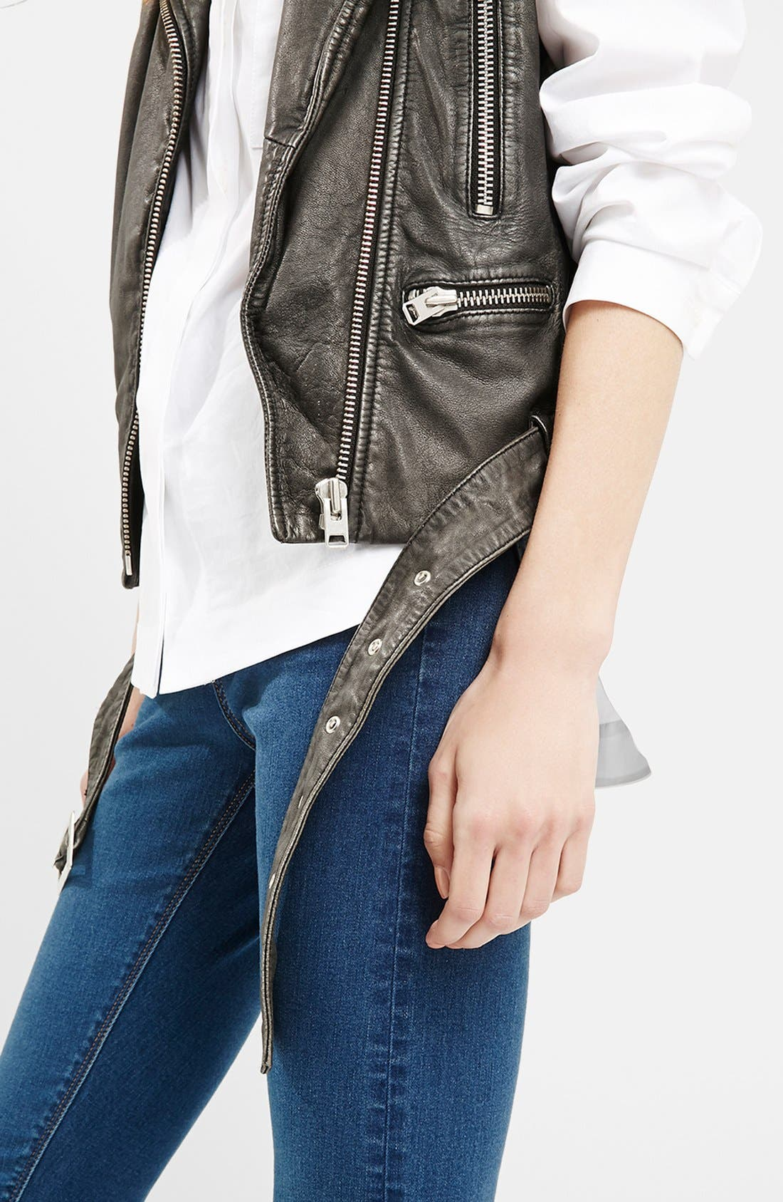 TOPSHOP, 'Sylvia' Leather Biker Vest, Alternate thumbnail 5, color, 001
