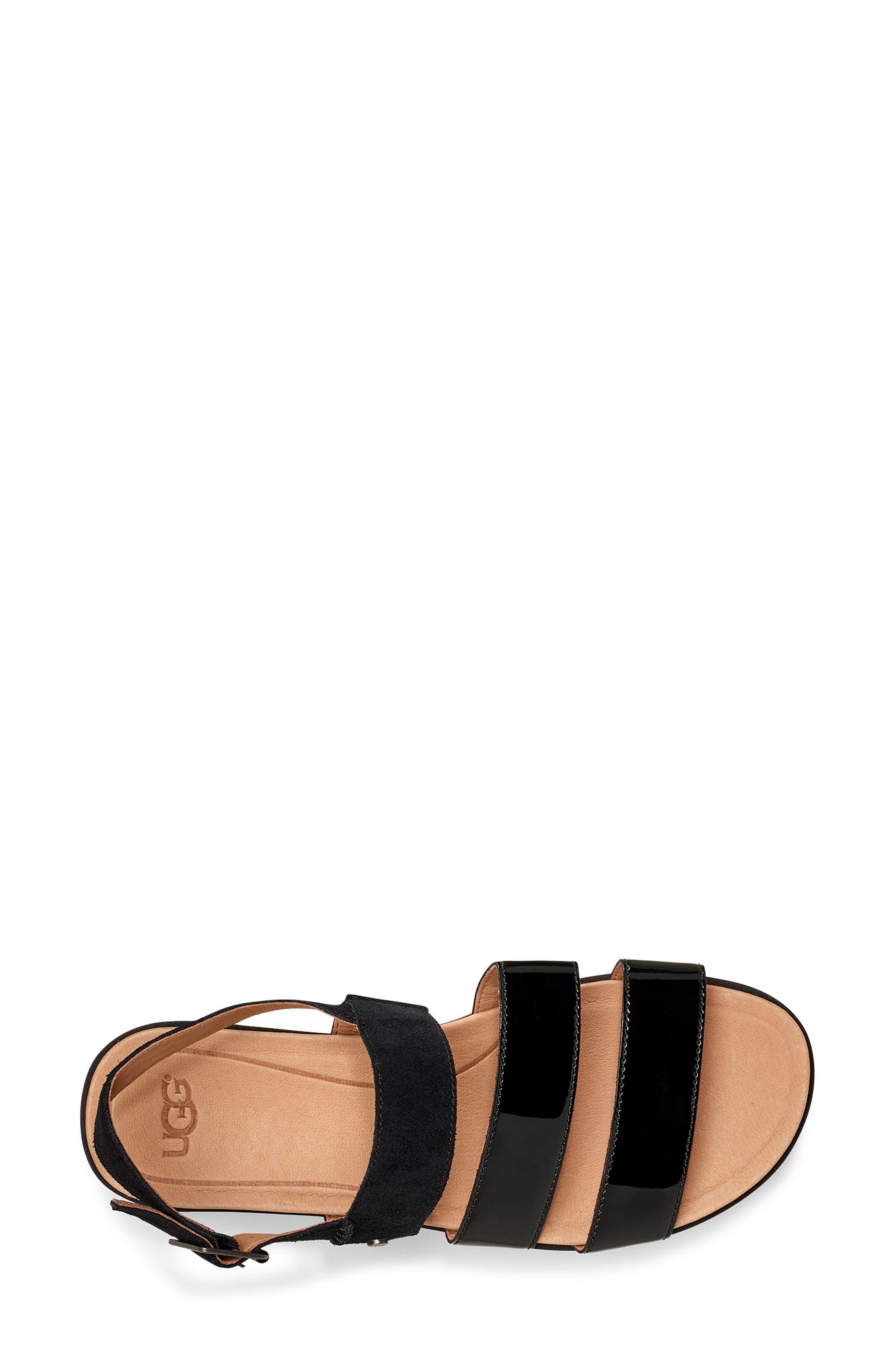 UGG<SUP>®</SUP>, Braelynn Flatform Sandal, Alternate thumbnail 4, color, BLACK LEATHER