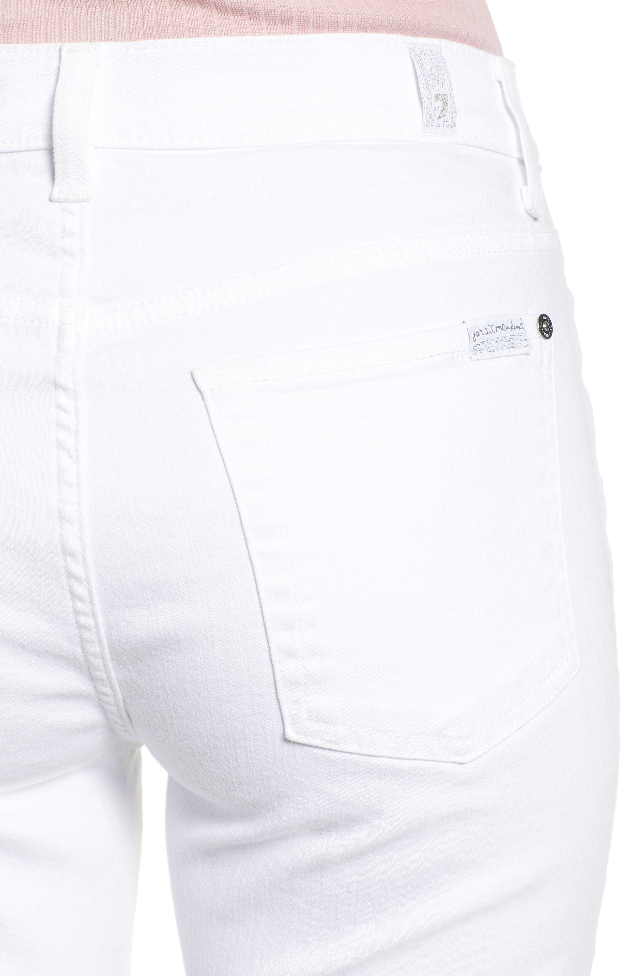 7 FOR ALL MANKIND<SUP>®</SUP>, Button Fly High Waist Ankle Skinny Jeans, Alternate thumbnail 5, color, WHITE RUNWAY DENIM