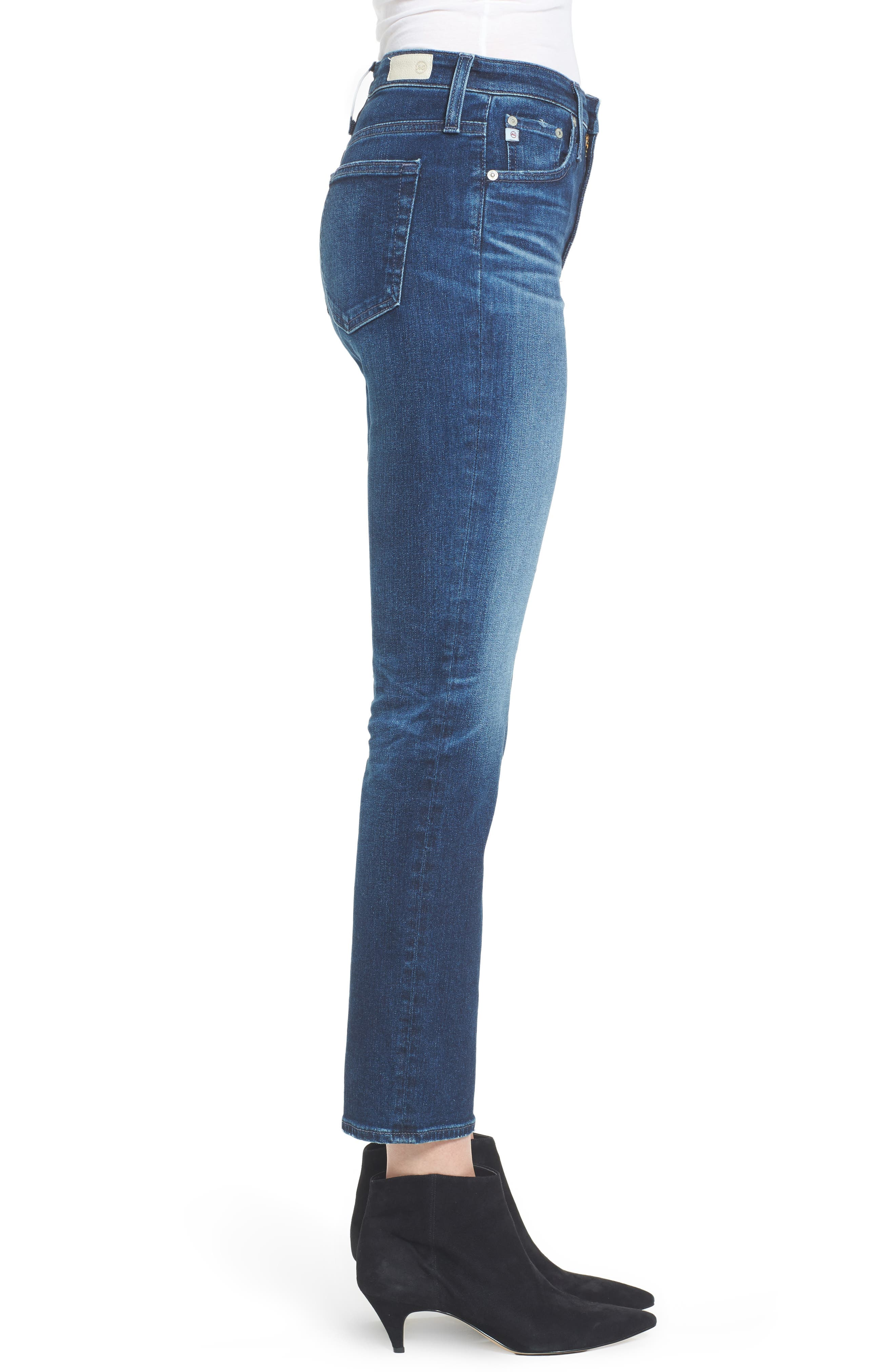 AG, The Isabelle High Waist Crop Straight Leg Jeans, Alternate thumbnail 4, color, 416