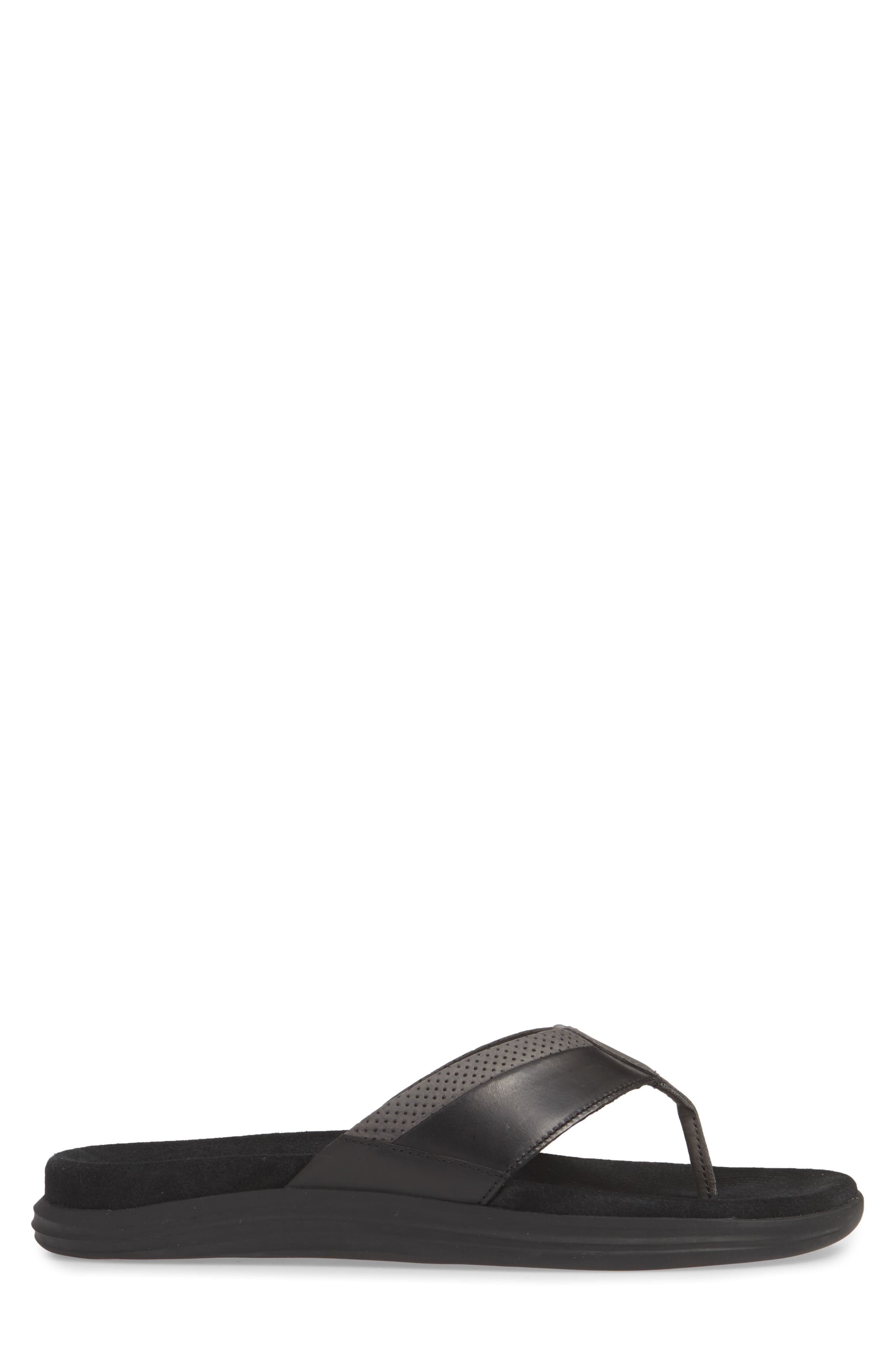 SPERRY, Gold Cup Amalfi Flip Flop, Alternate thumbnail 3, color, BLACK/ GREY LEATHER
