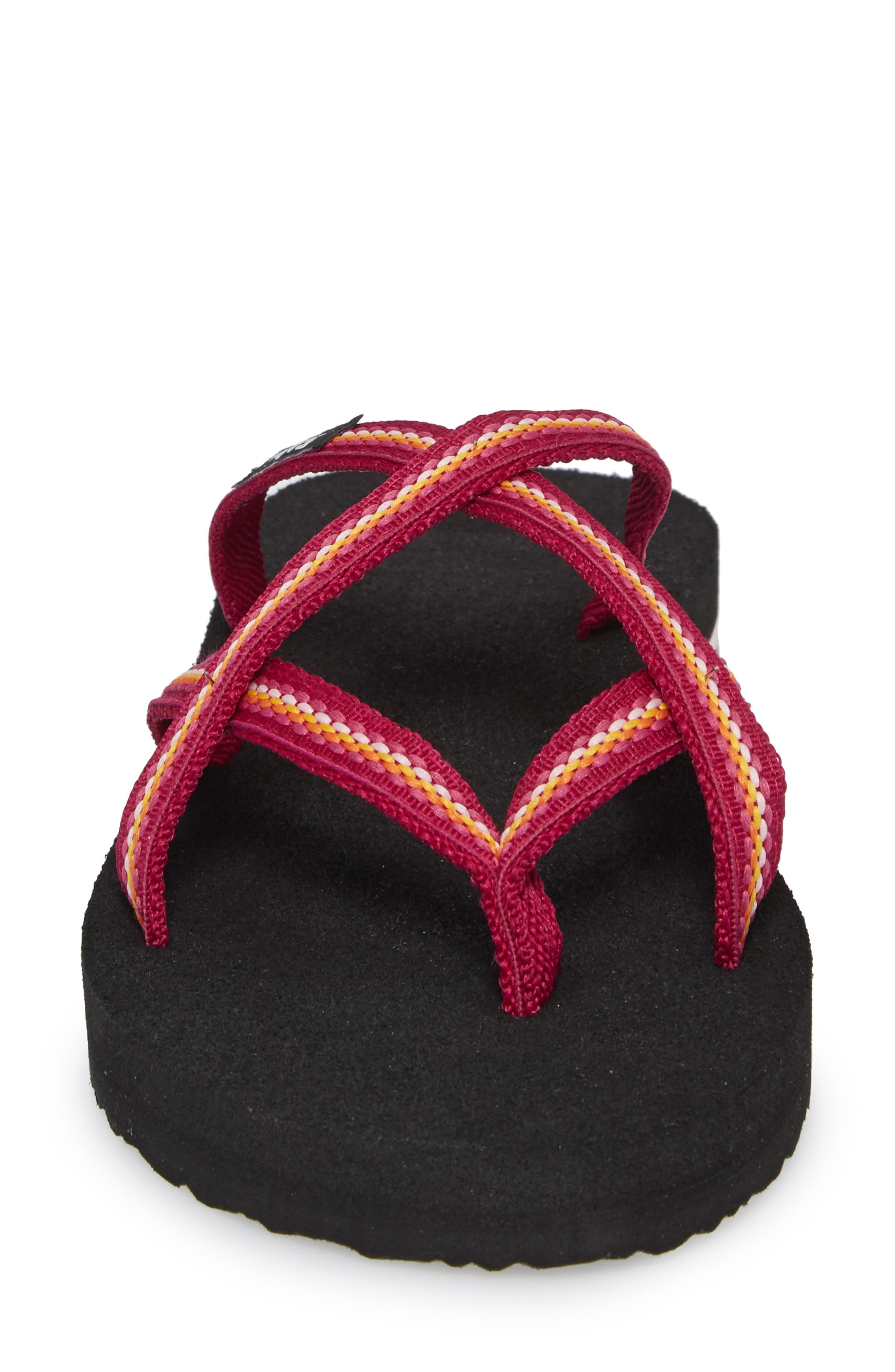 TEVA, 'Olowahu' Sandal, Alternate thumbnail 4, color, BOYSENBERRY FABRIC
