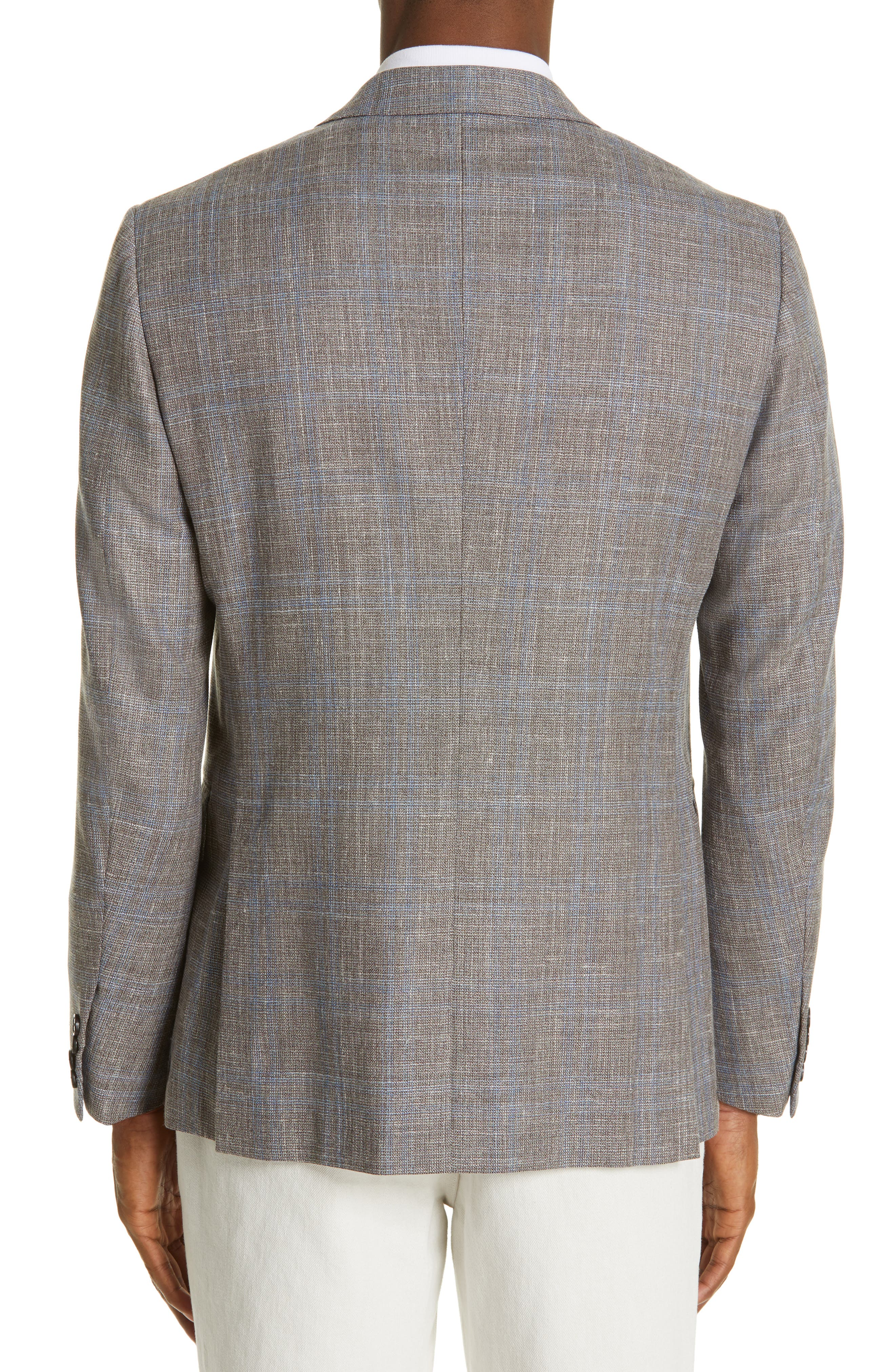 ERMENEGILDO ZEGNA, Milano Classic Fit Plaid Wool Blend Sport Coat, Alternate thumbnail 2, color, GREY