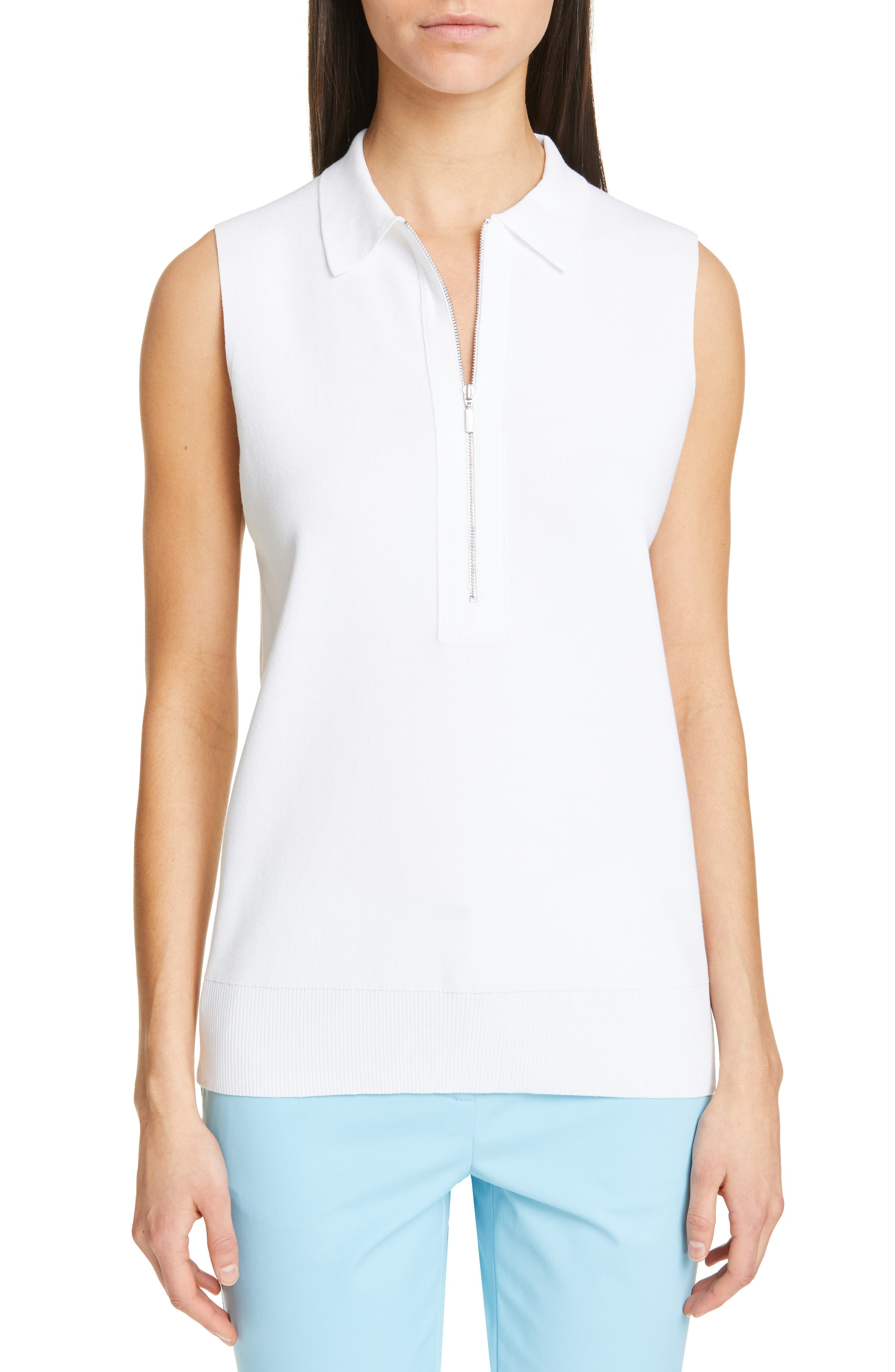 LAFAYETTE 148 NEW YORK, Lafayette Fitted Sleeveless Polo Sweater, Main thumbnail 1, color, WHITE