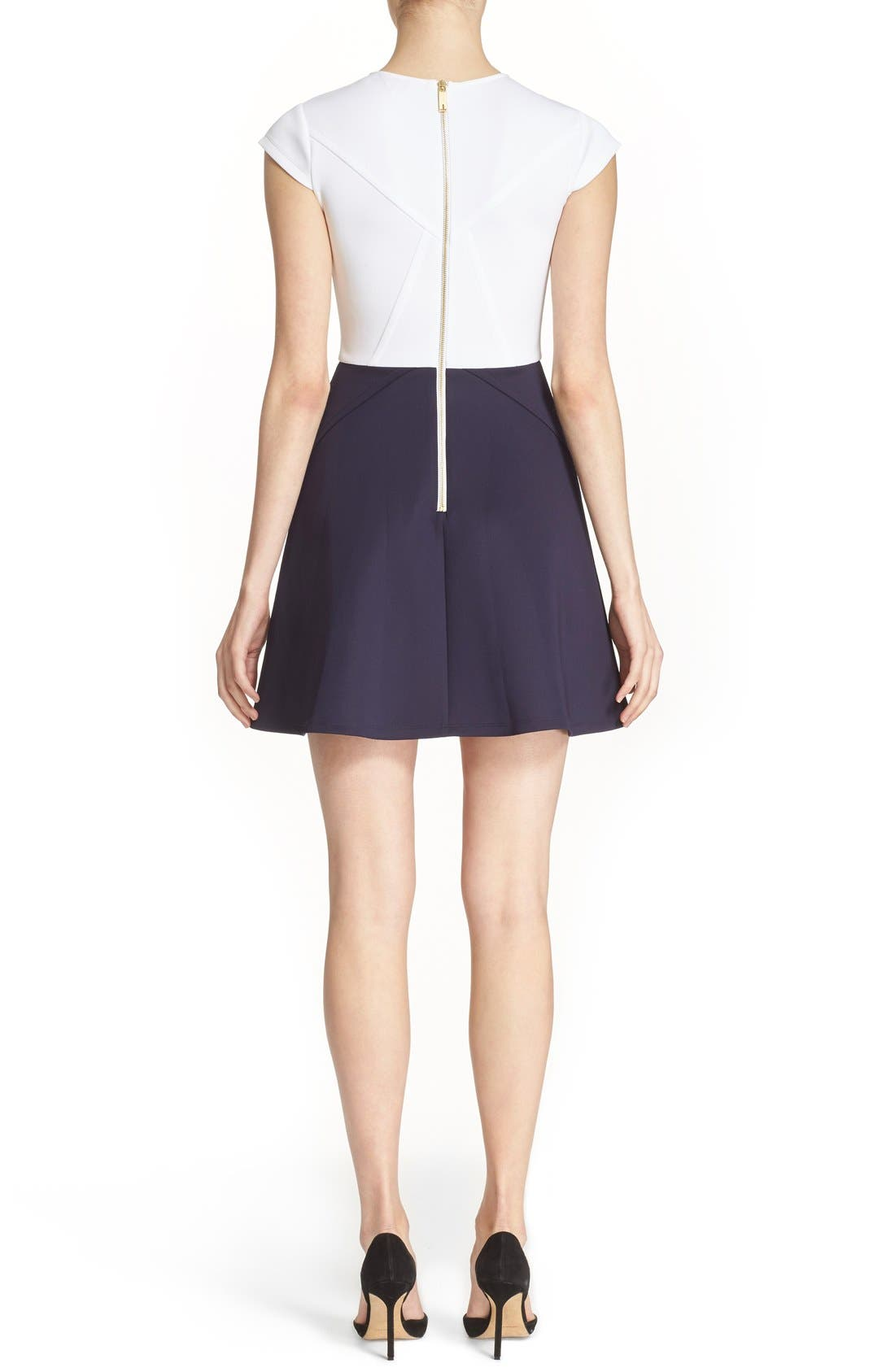 TED BAKER LONDON, 'AABRR' Colorblock Cap Sleeve Skater Dress, Alternate thumbnail 3, color, 402