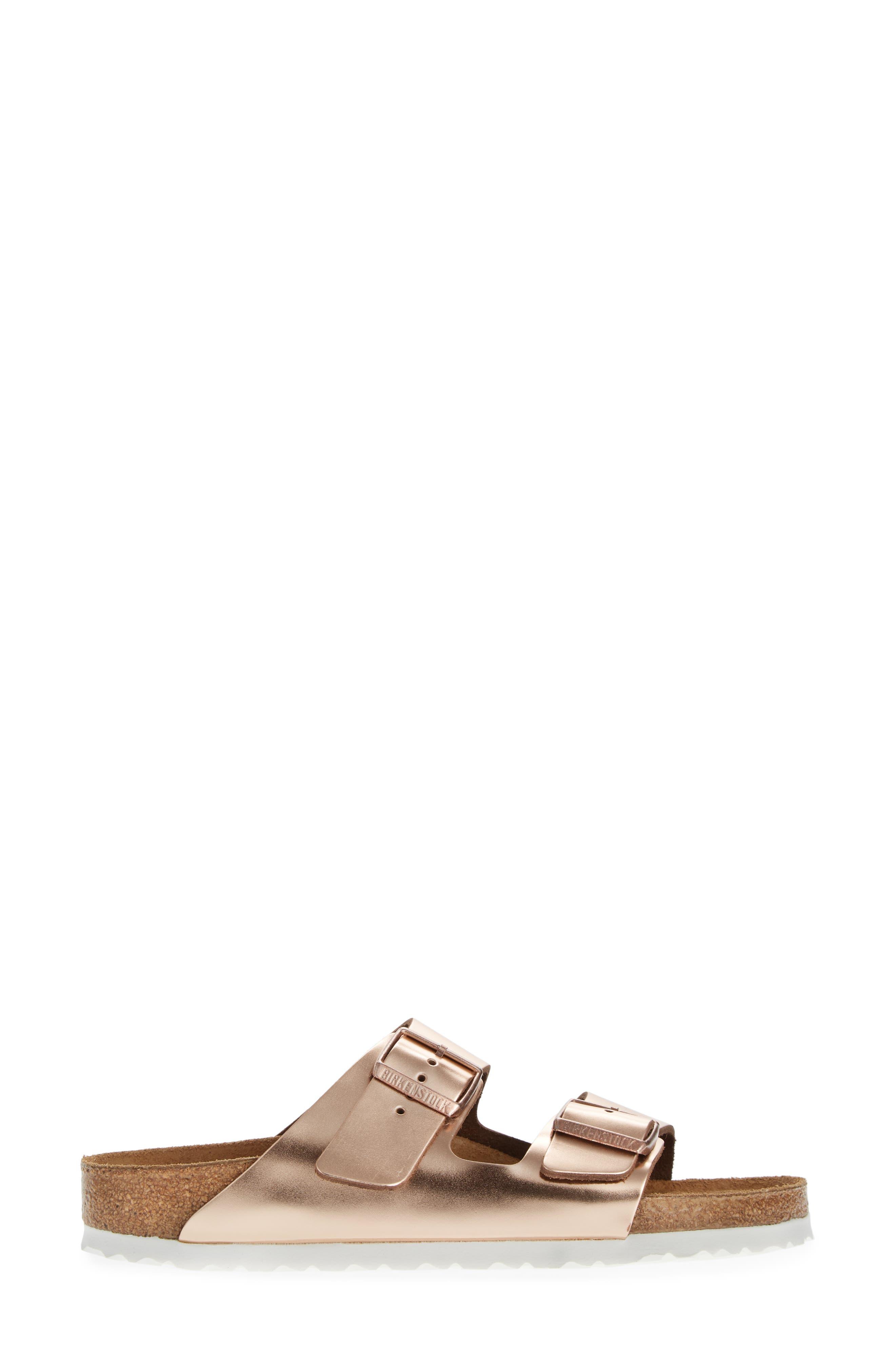 BIRKENSTOCK, 'Arizona' Soft Footbed Sandal, Alternate thumbnail 3, color, COPPER LEATHER