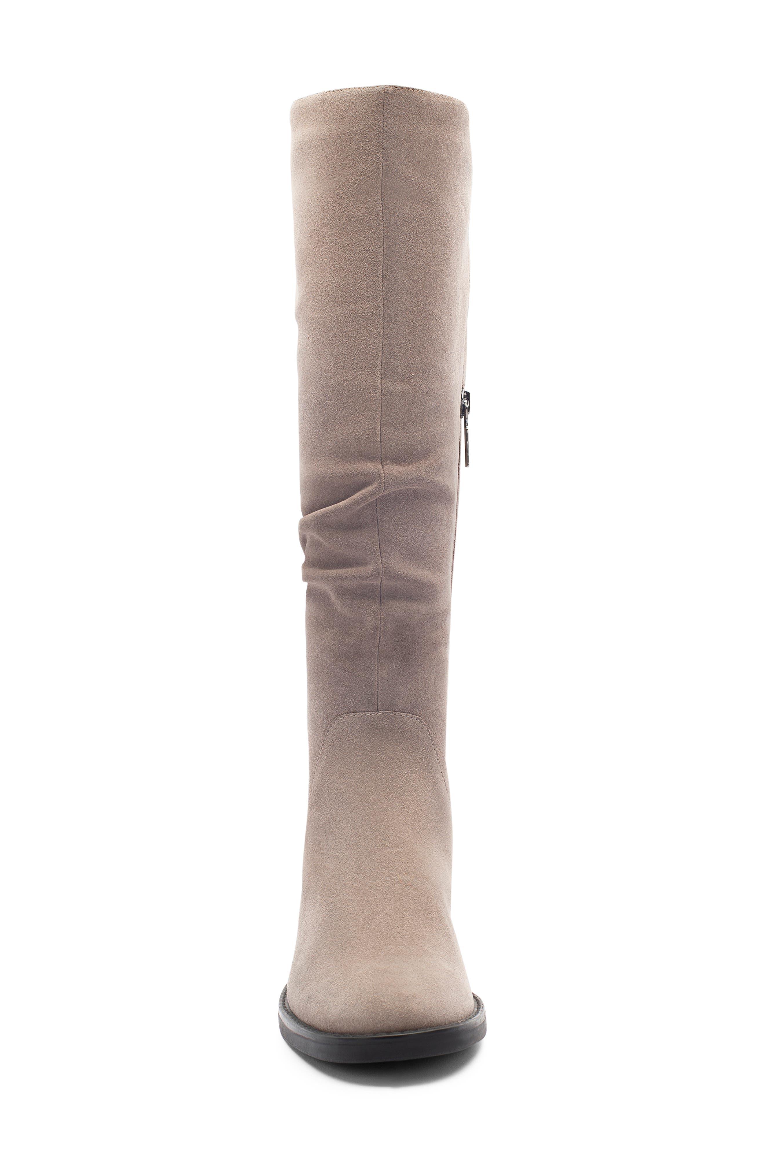BLONDO, Erika Waterproof Knee High Boot, Alternate thumbnail 4, color, DARK TAUPE SUEDE