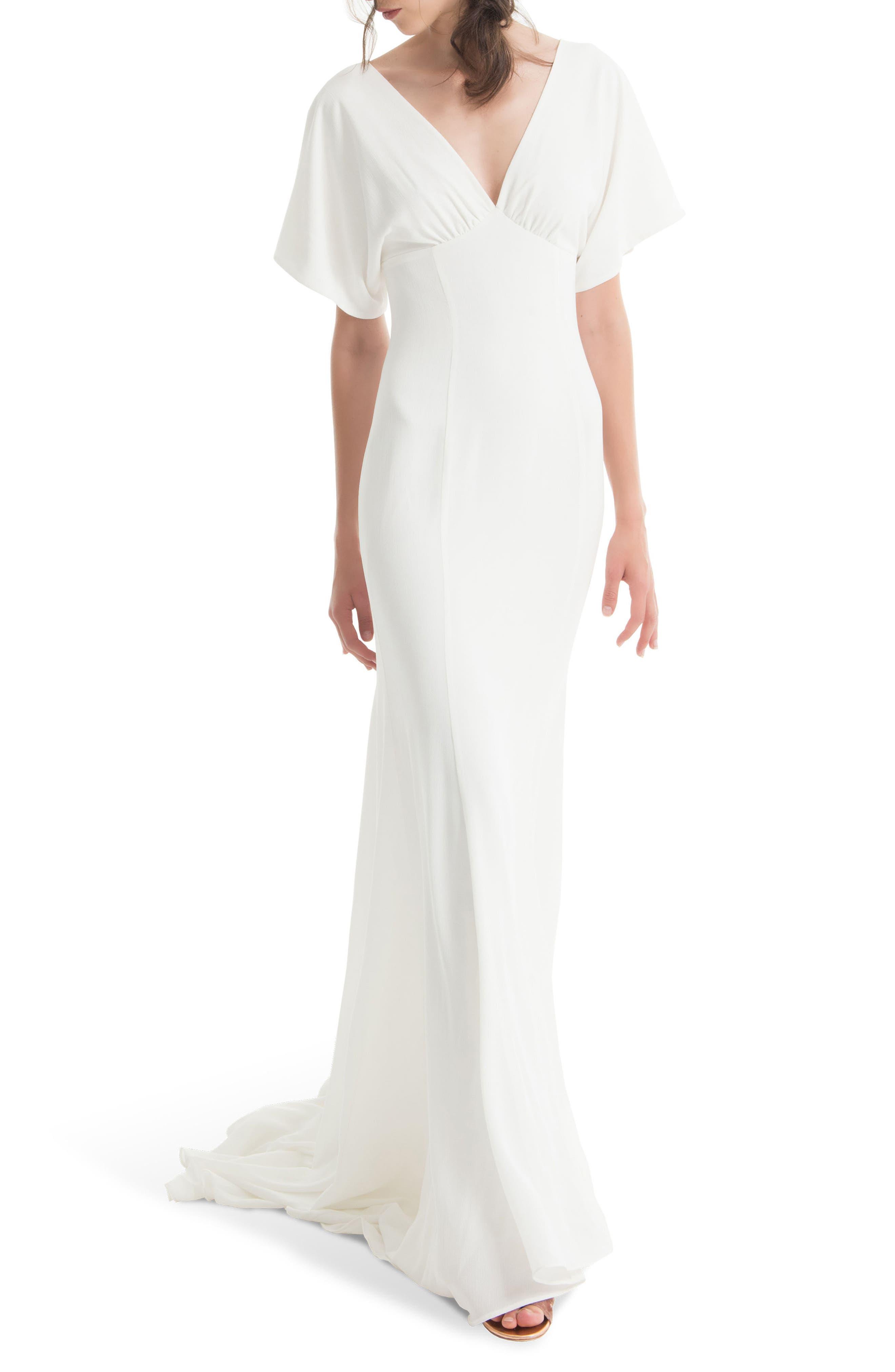 JOANNA AUGUST, Pattie Empire Waist Crepe Gown, Main thumbnail 1, color, WHITE