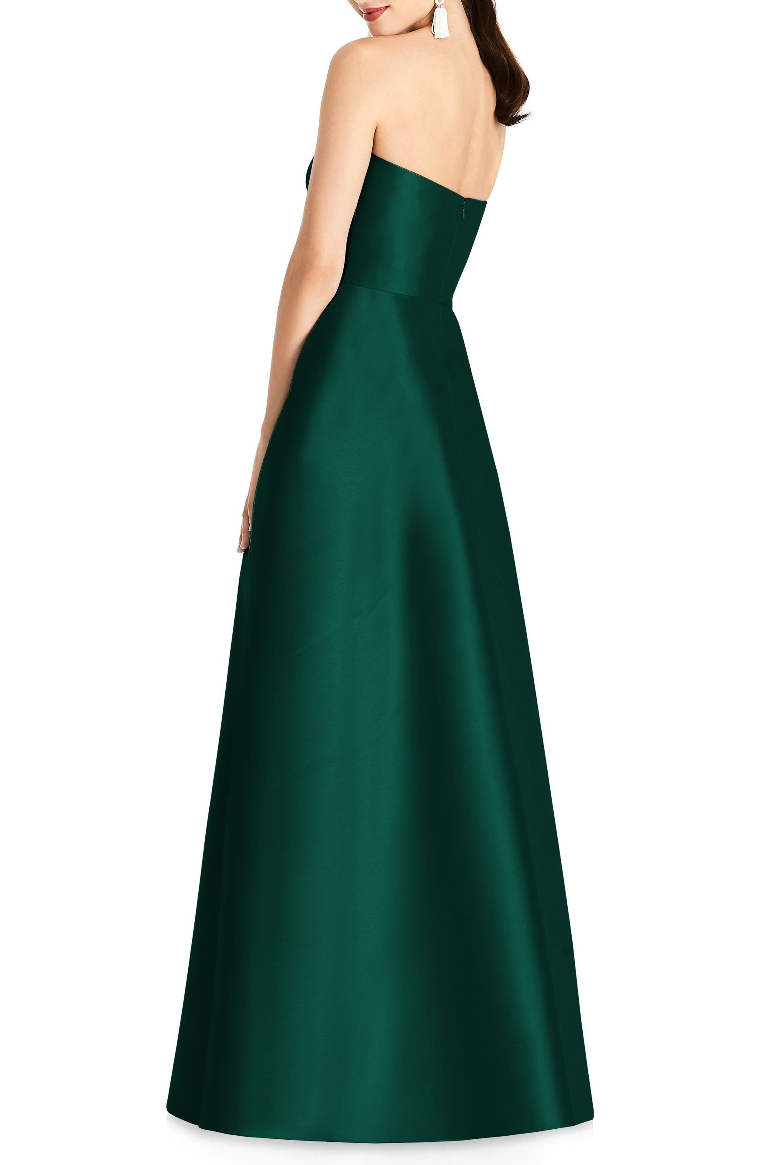 ALFRED SUNG, Strapless Sateen Gown, Alternate thumbnail 2, color, HUNTER