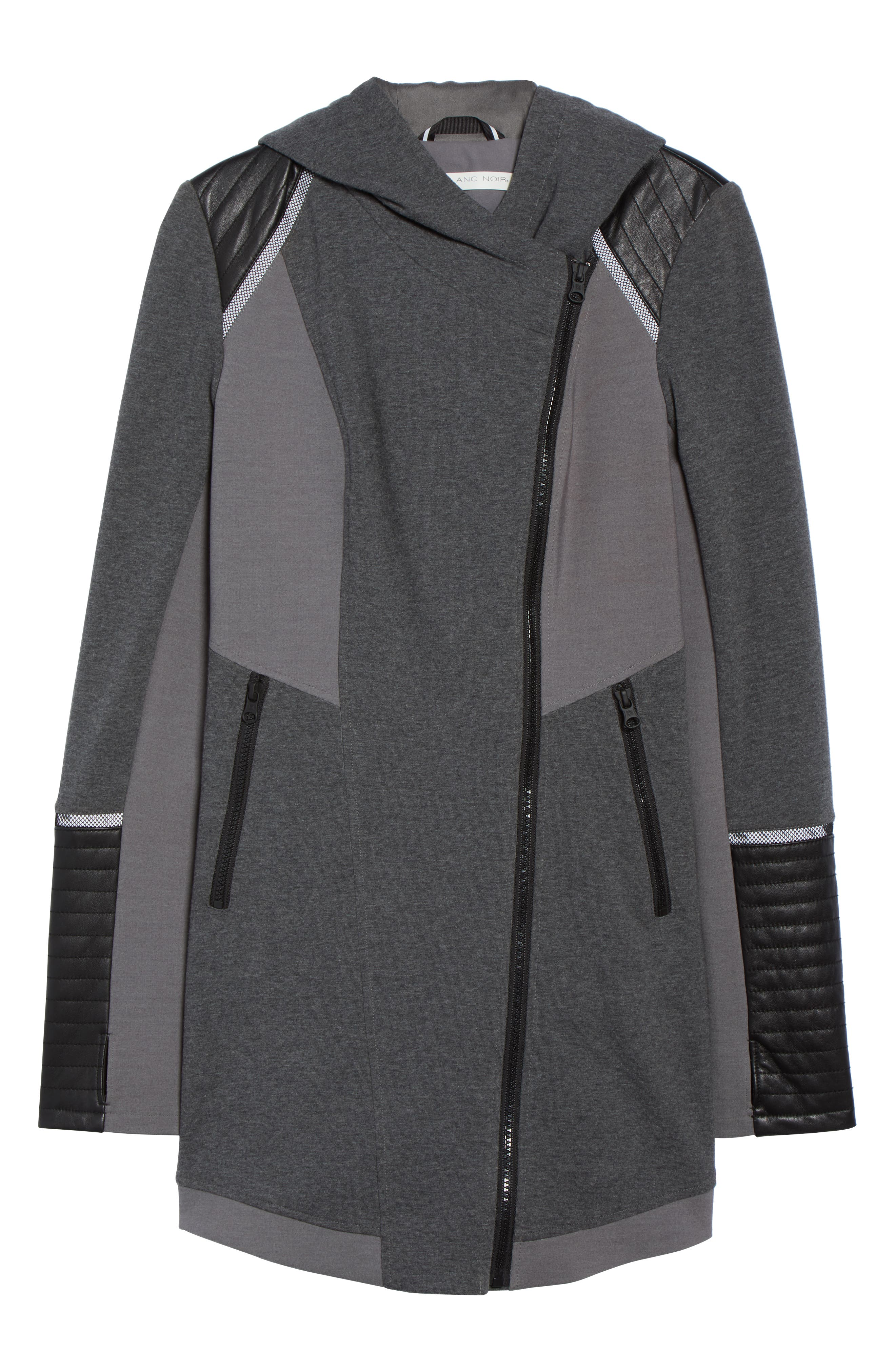 BLANC NOIR, Traveller Mesh Inset Jacket, Alternate thumbnail 7, color, CHARCOAL