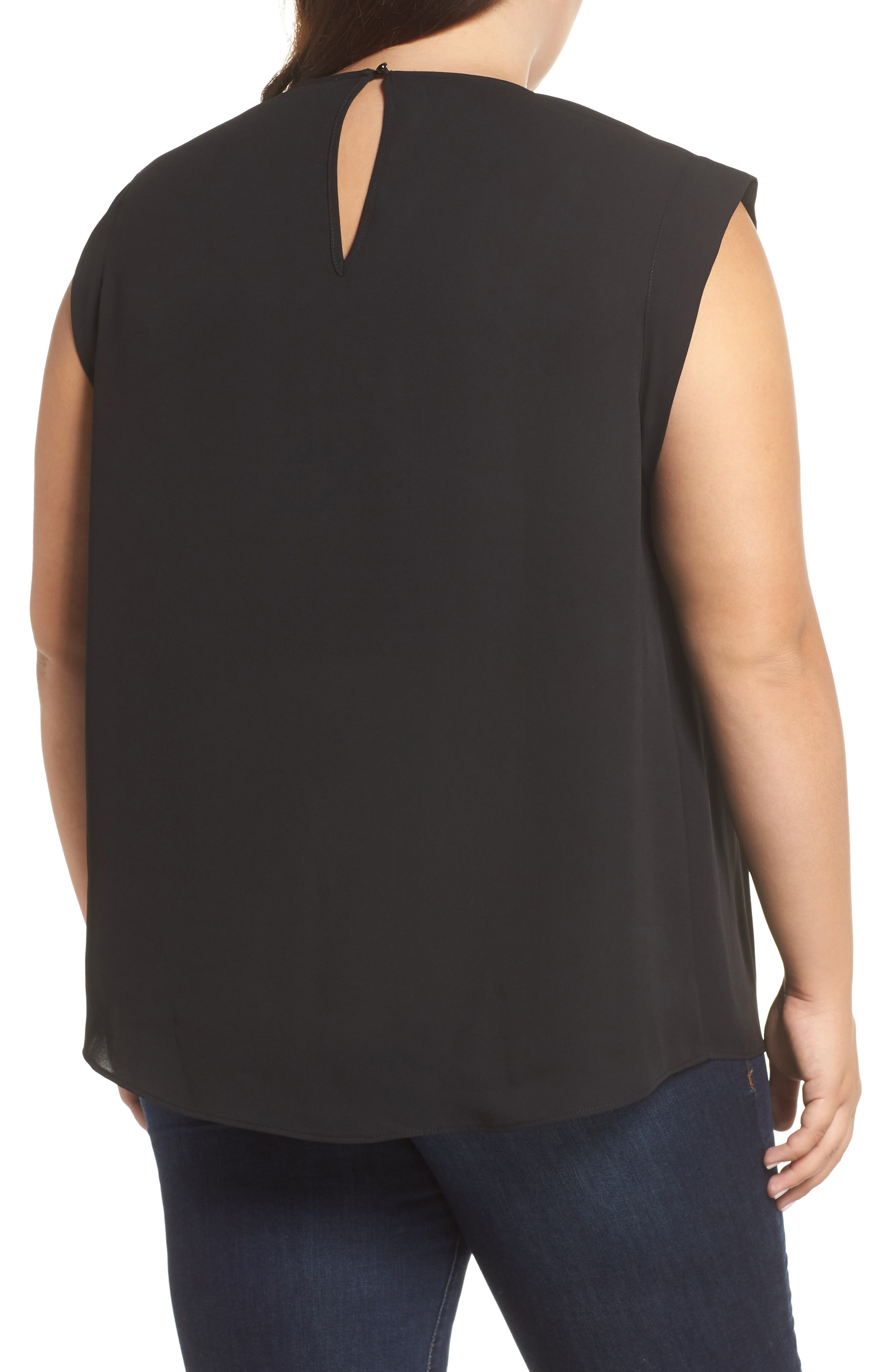 &.LAYERED, Scallop Trim Blouse, Alternate thumbnail 2, color, BLACK