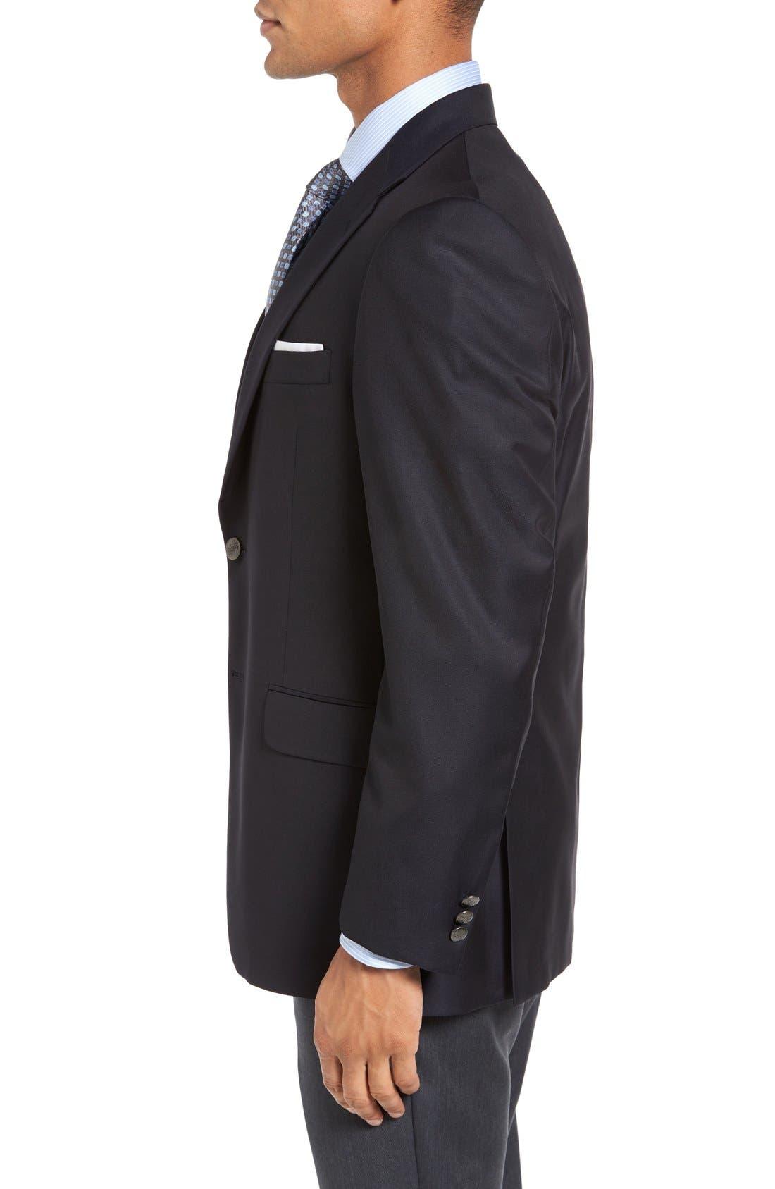 HICKEY FREEMAN, Classic B Fit Wool Travel Blazer, Alternate thumbnail 3, color, NAVY