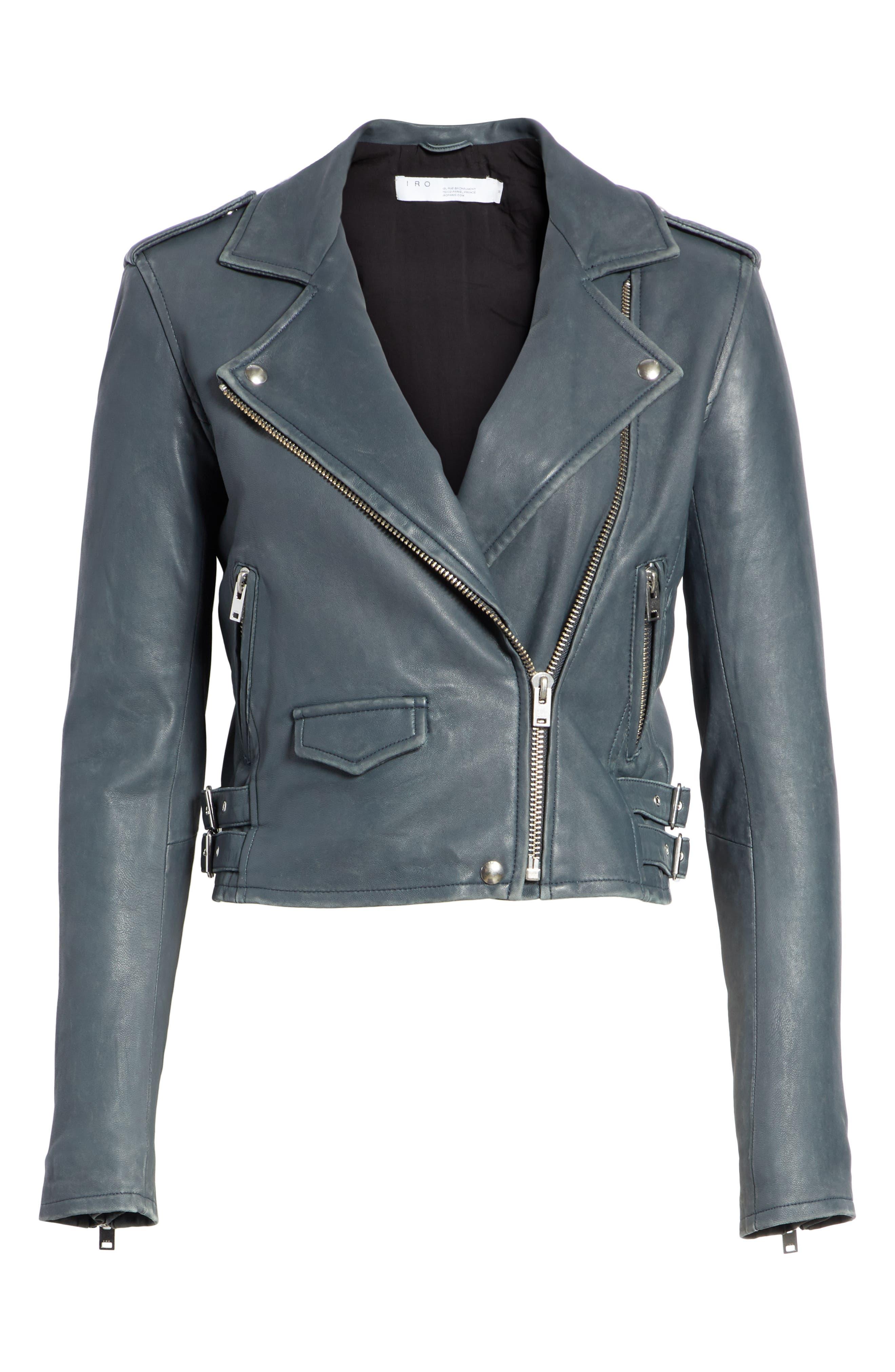 IRO, 'Ashville' Leather Jacket, Alternate thumbnail 6, color, GREY DENIM
