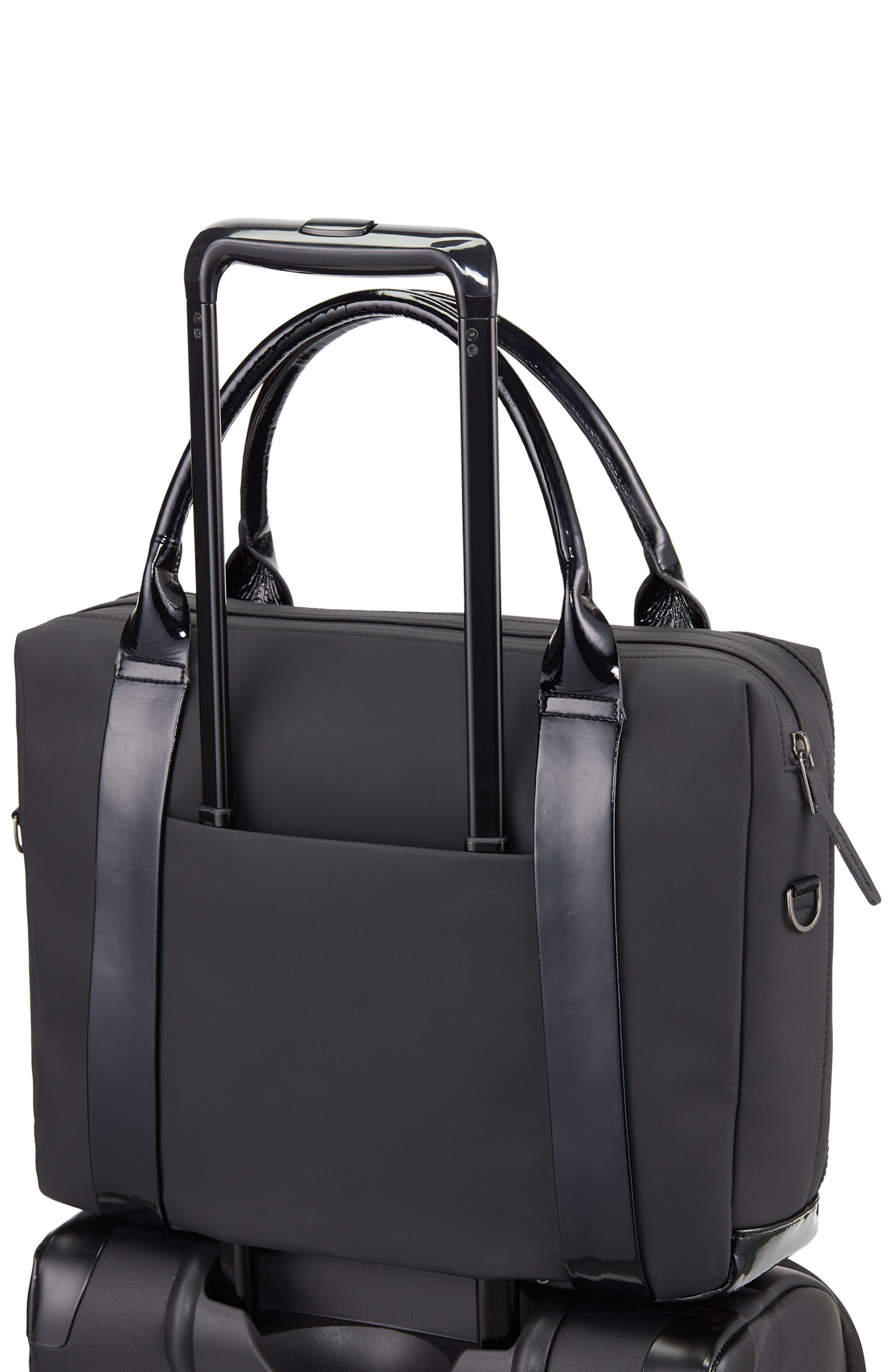 VESSEL, Signature 2.0 Faux Leather Briefcase, Alternate thumbnail 5, color, MATTE/ PATENT BLACK