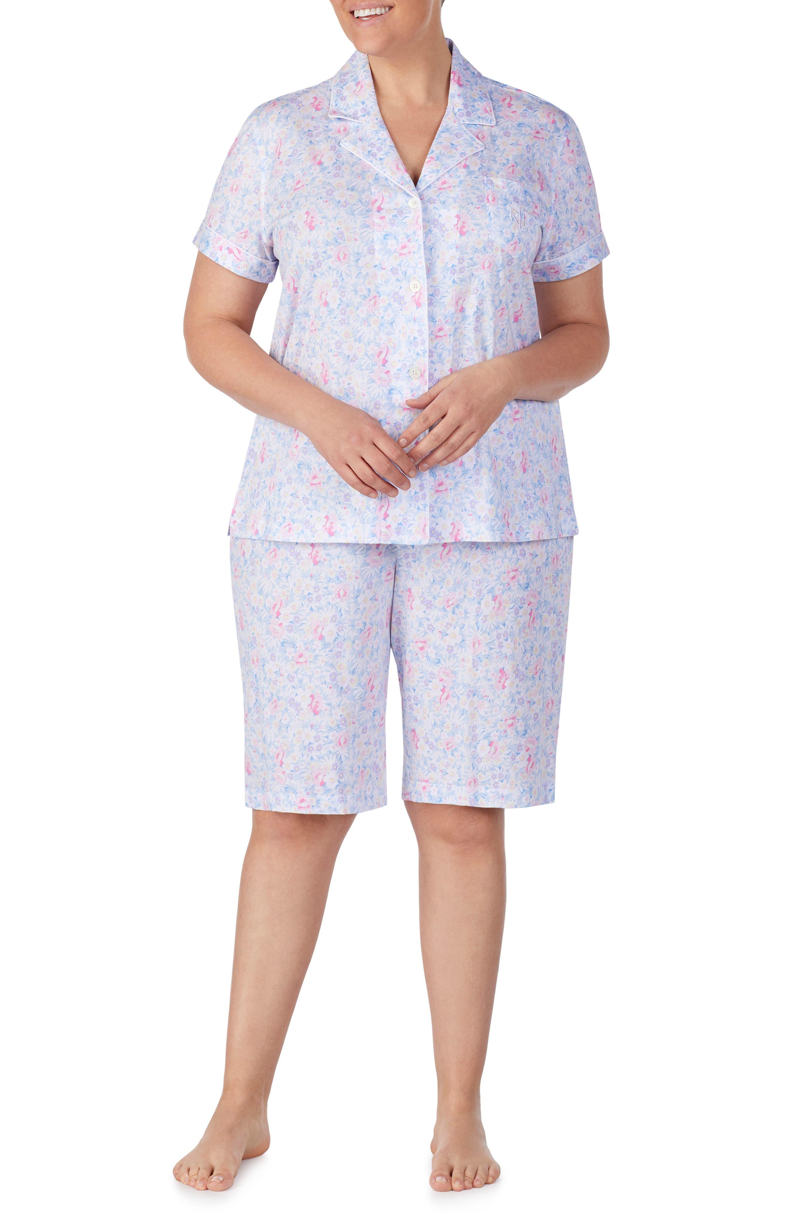 LAUREN RALPH LAUREN, Bermuda Shorts Pajamas, Alternate thumbnail 2, color, PINK FLORAL
