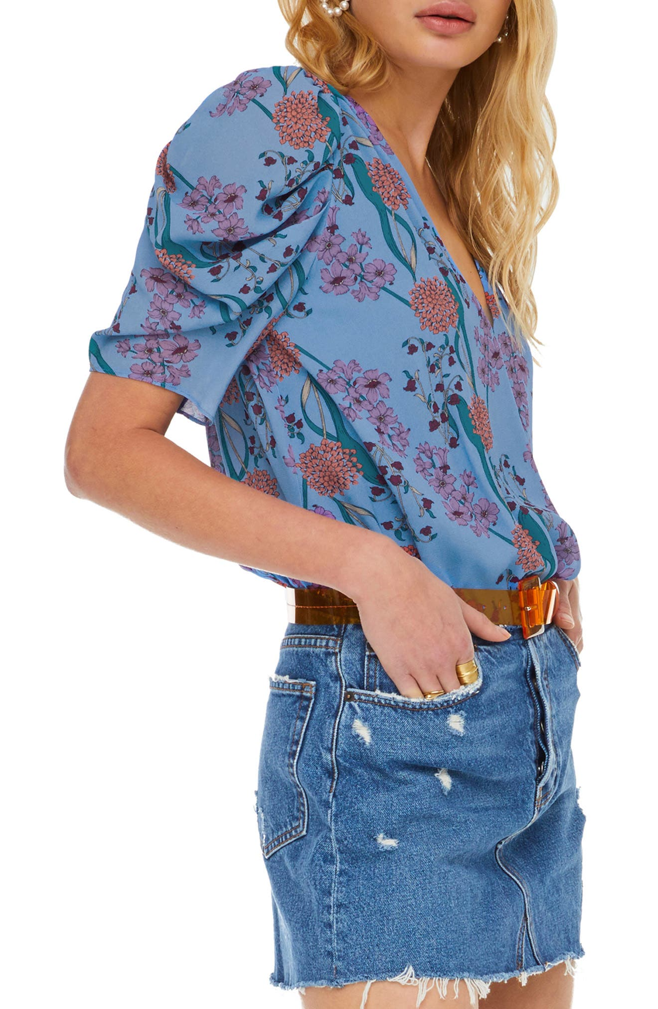 ASTR THE LABEL, Aspect Puff Sleeve Bodysuit, Alternate thumbnail 3, color, BLUEBELL FLORAL